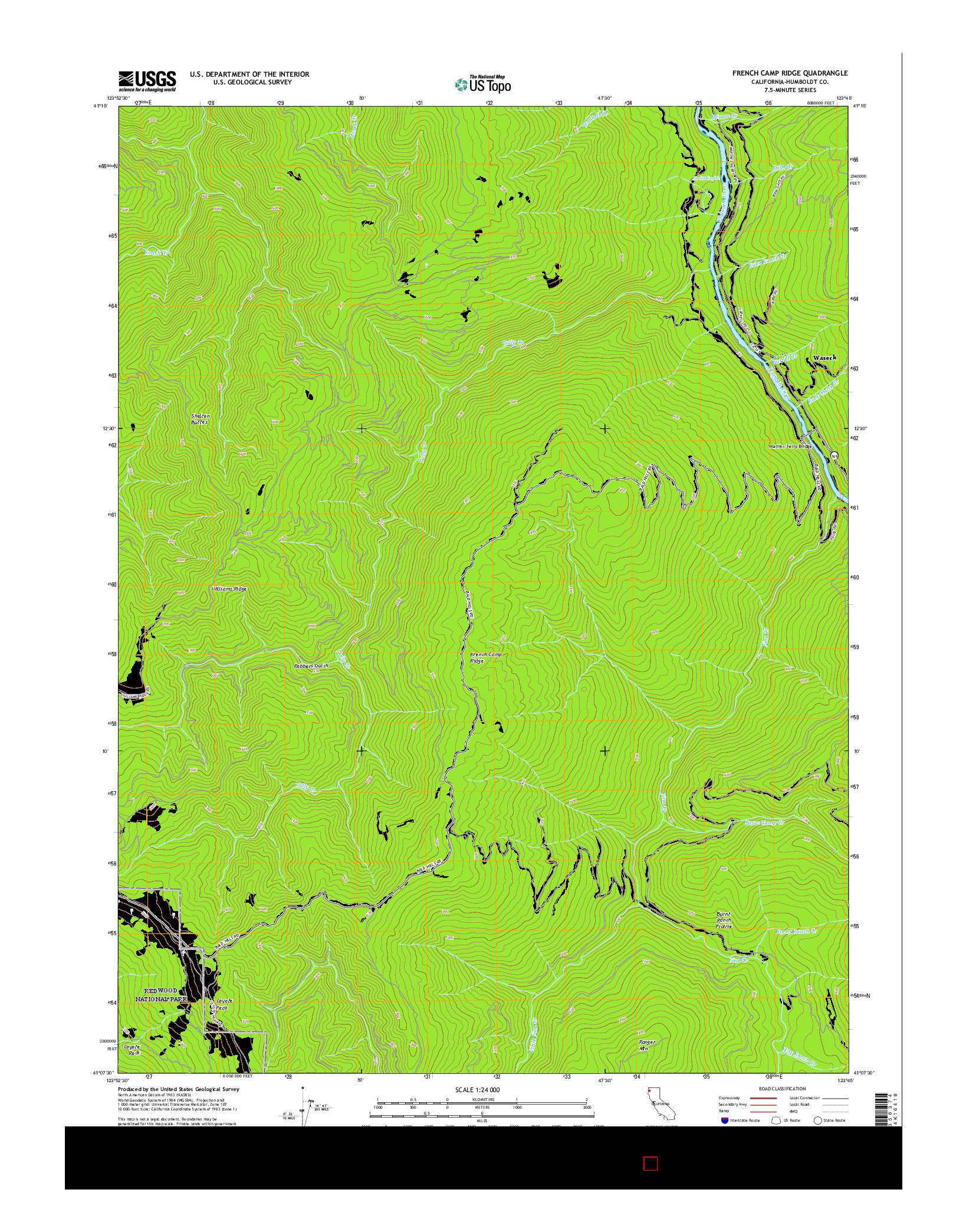 USGS US TOPO 7.5-MINUTE MAP FOR FRENCH CAMP RIDGE, CA 2015