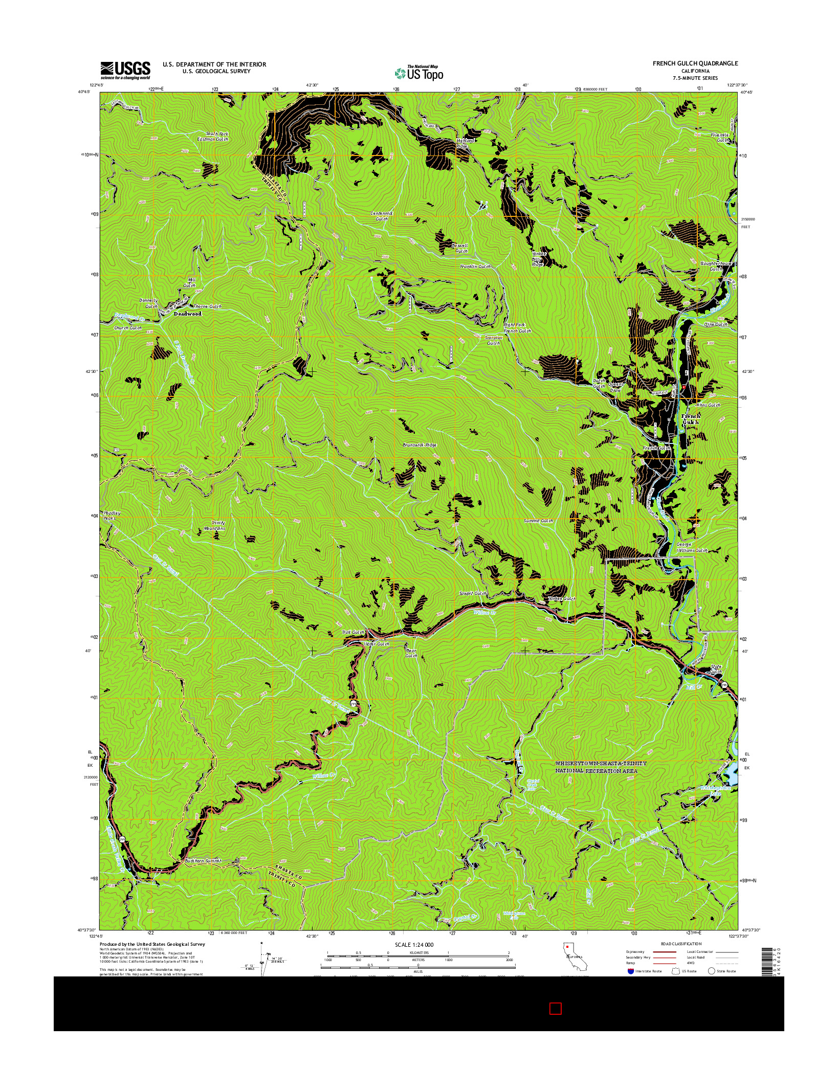USGS US TOPO 7.5-MINUTE MAP FOR FRENCH GULCH, CA 2015