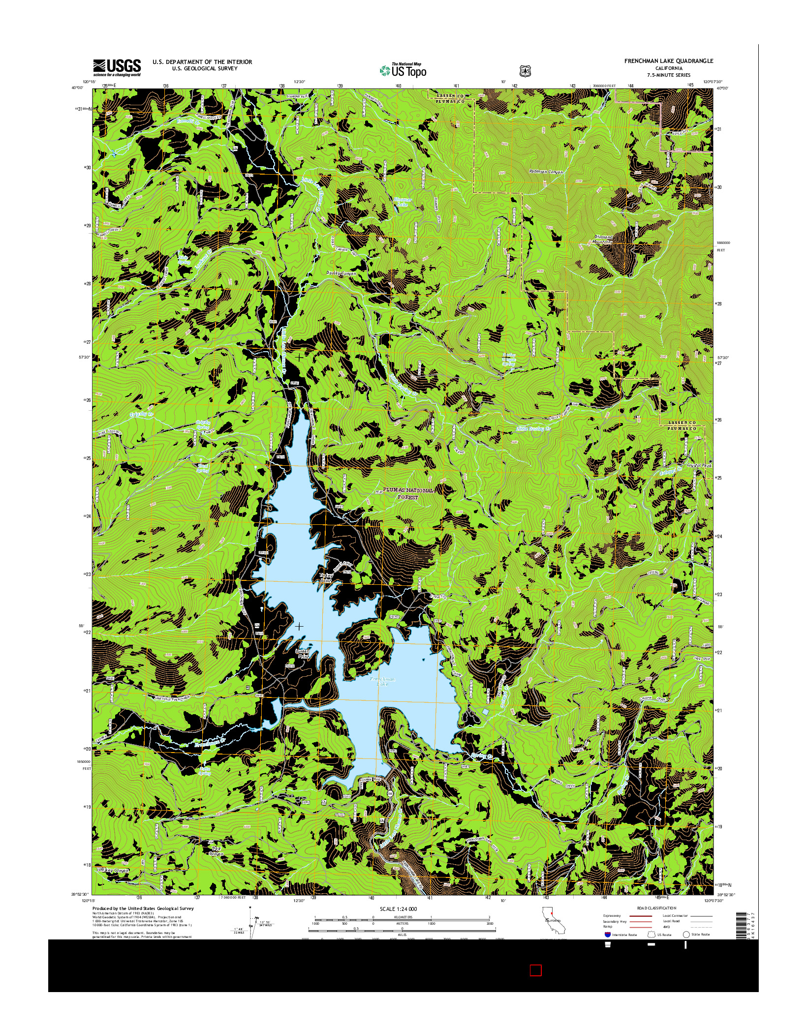 USGS US TOPO 7.5-MINUTE MAP FOR FRENCHMAN LAKE, CA 2015