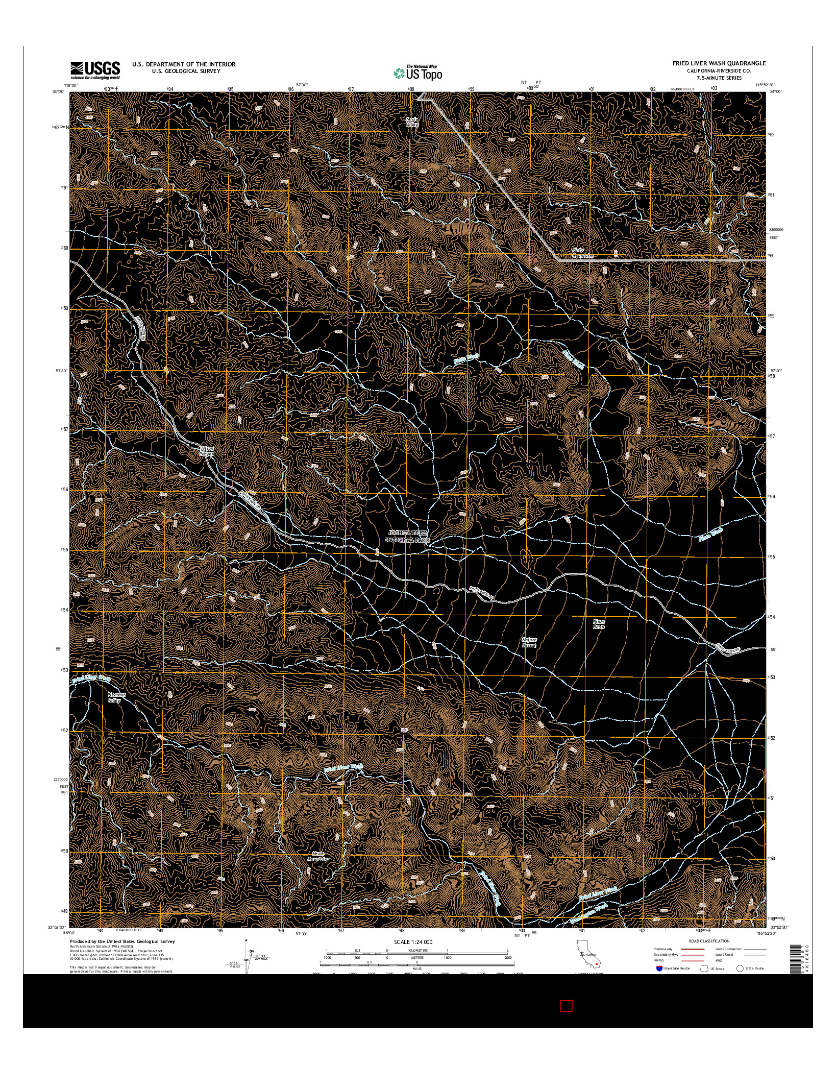 USGS US TOPO 7.5-MINUTE MAP FOR FRIED LIVER WASH, CA 2015