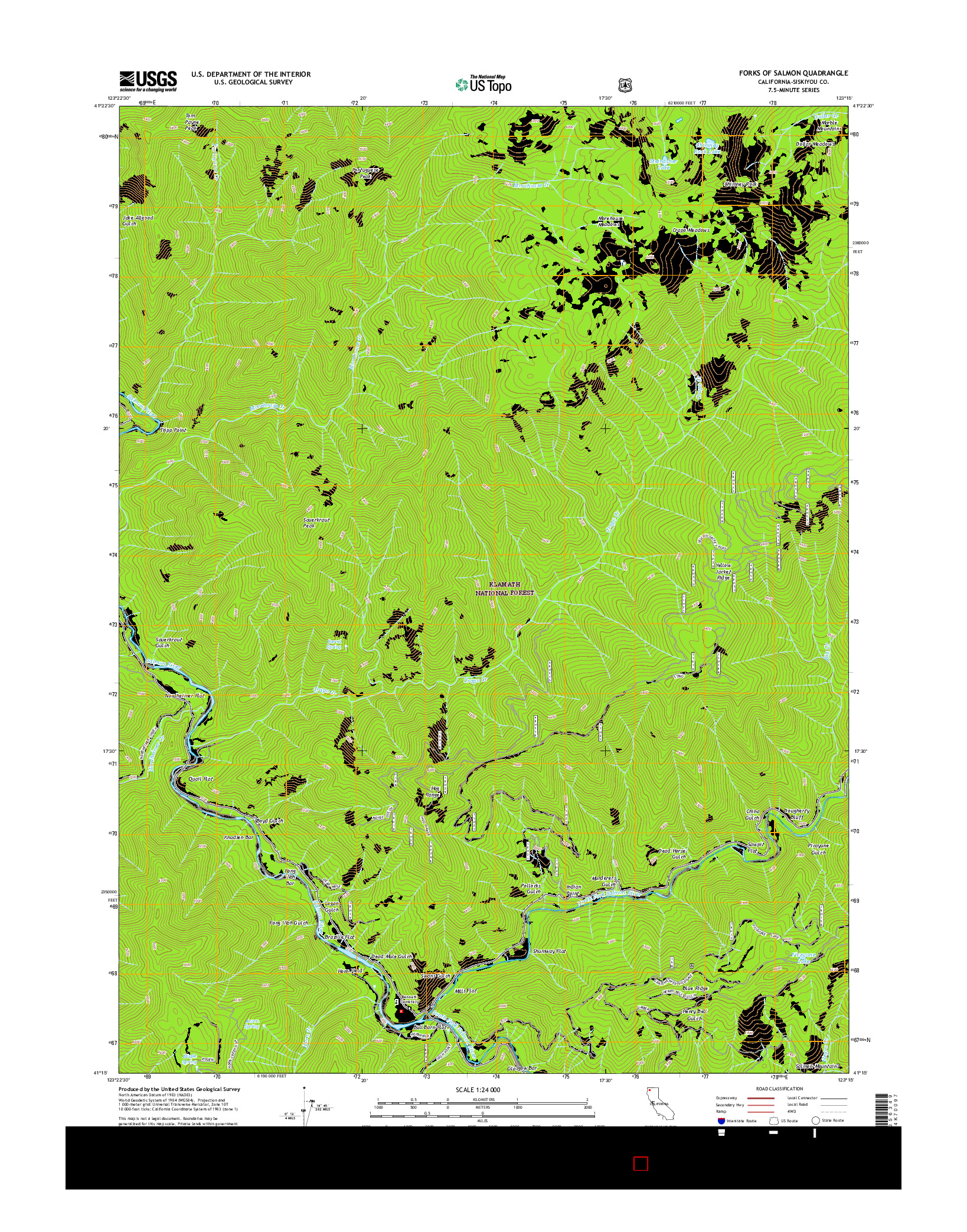 USGS US TOPO 7.5-MINUTE MAP FOR FORKS OF SALMON, CA 2015