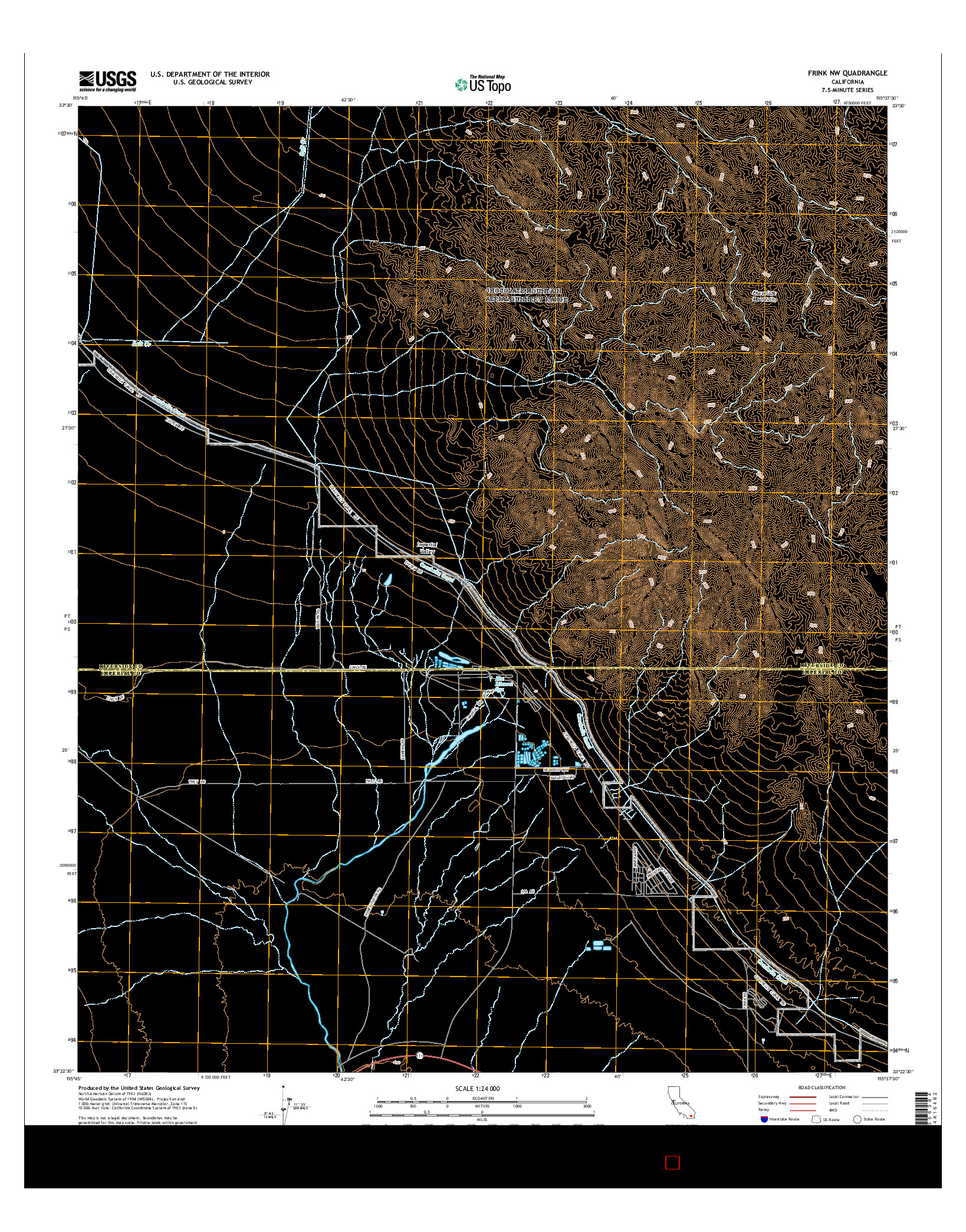 USGS US TOPO 7.5-MINUTE MAP FOR FRINK NW, CA 2015