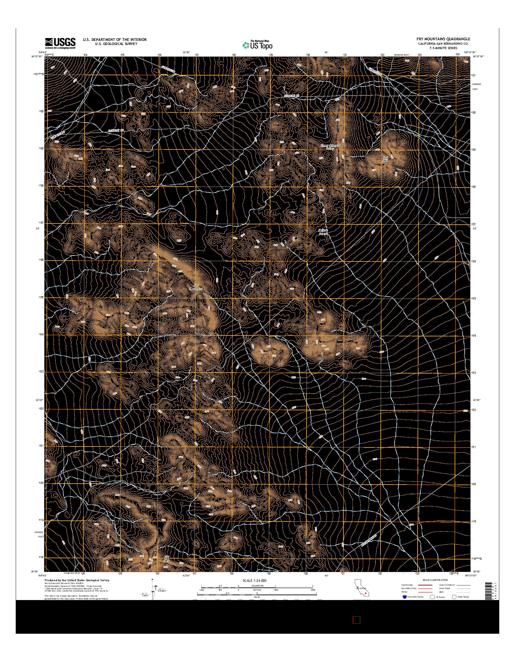 USGS US TOPO 7.5-MINUTE MAP FOR FRY MOUNTAINS, CA 2015