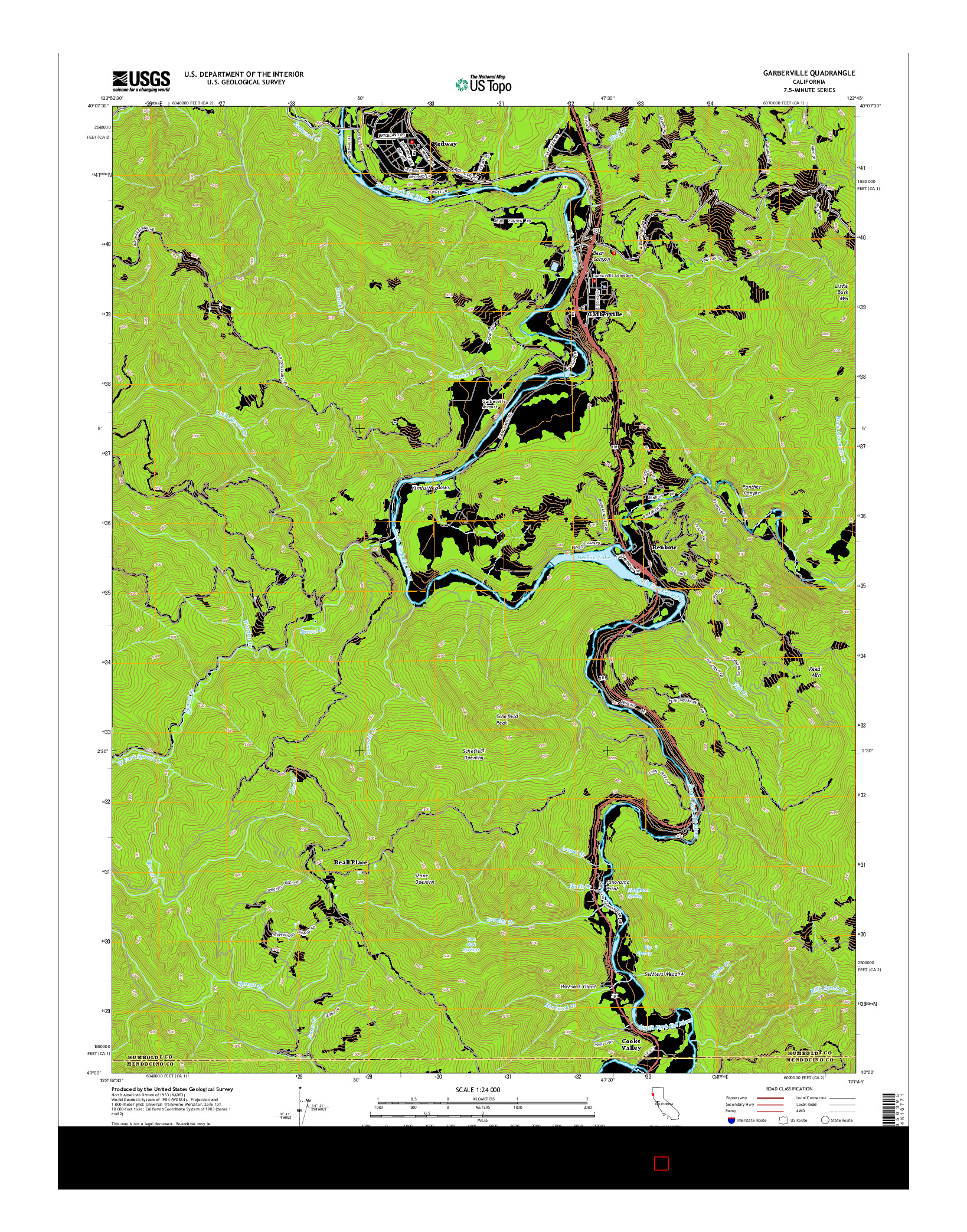 USGS US TOPO 7.5-MINUTE MAP FOR GARBERVILLE, CA 2015