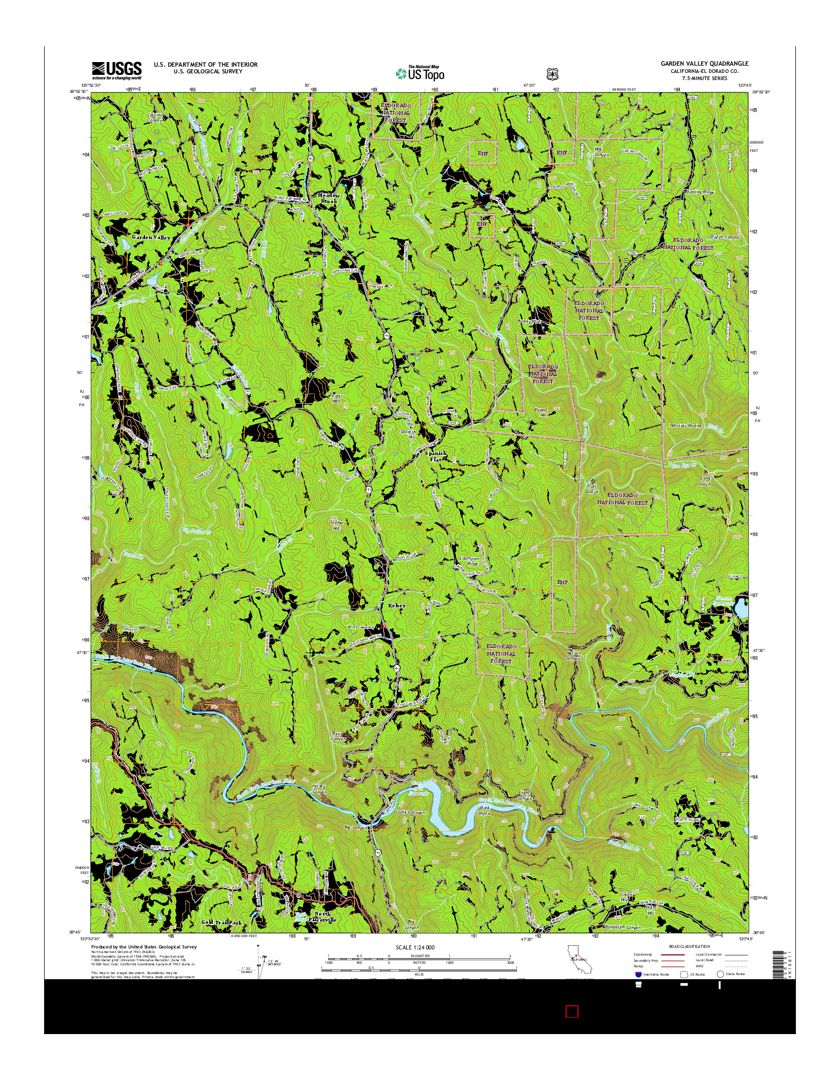 USGS US TOPO 7.5-MINUTE MAP FOR GARDEN VALLEY, CA 2015