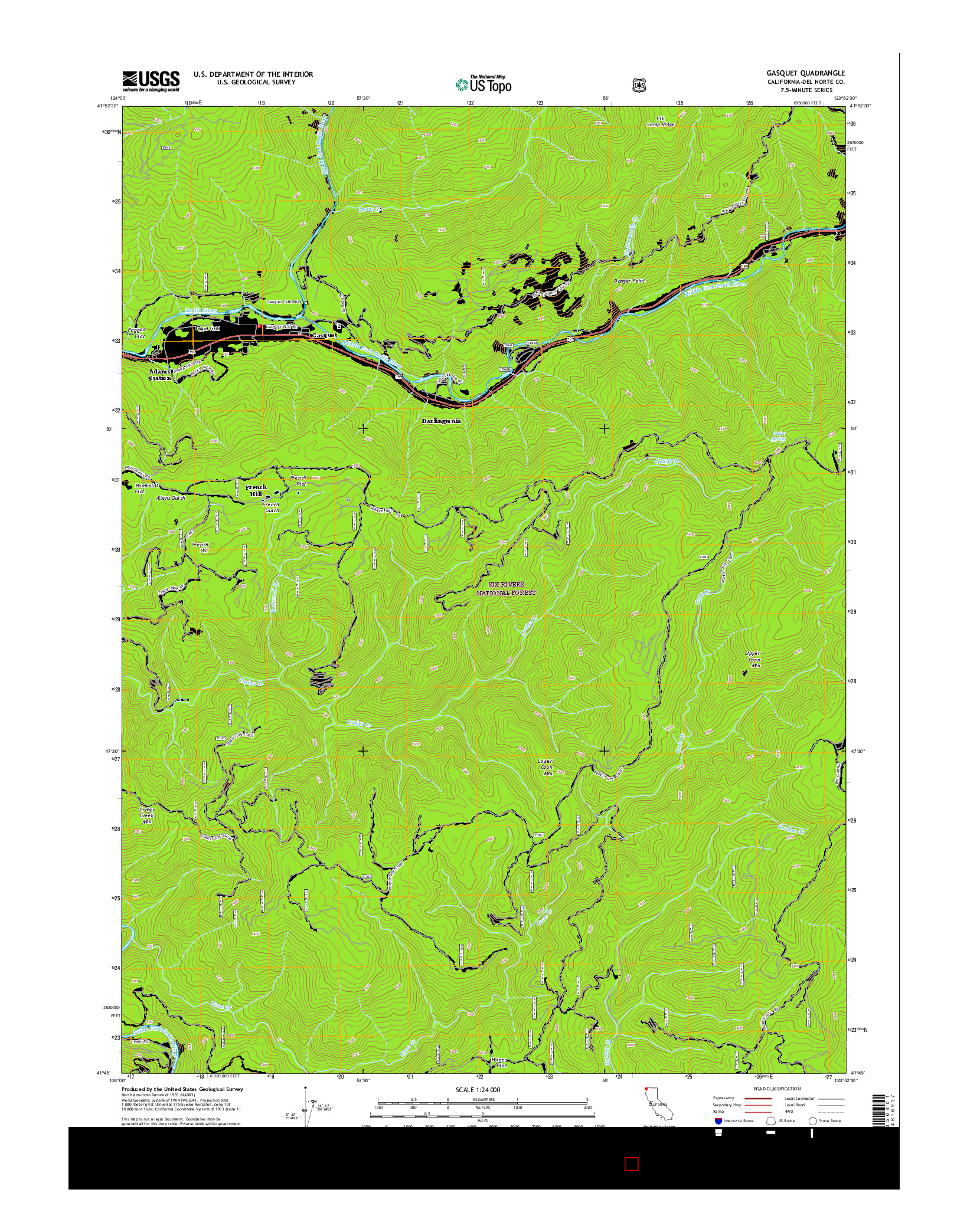 USGS US TOPO 7.5-MINUTE MAP FOR GASQUET, CA 2015