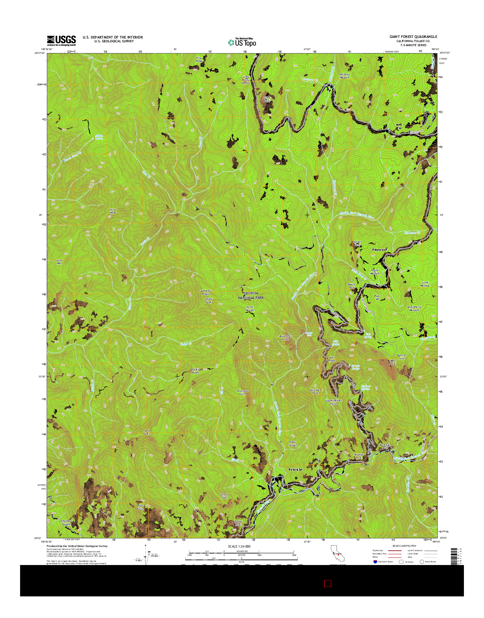 USGS US TOPO 7.5-MINUTE MAP FOR GIANT FOREST, CA 2015