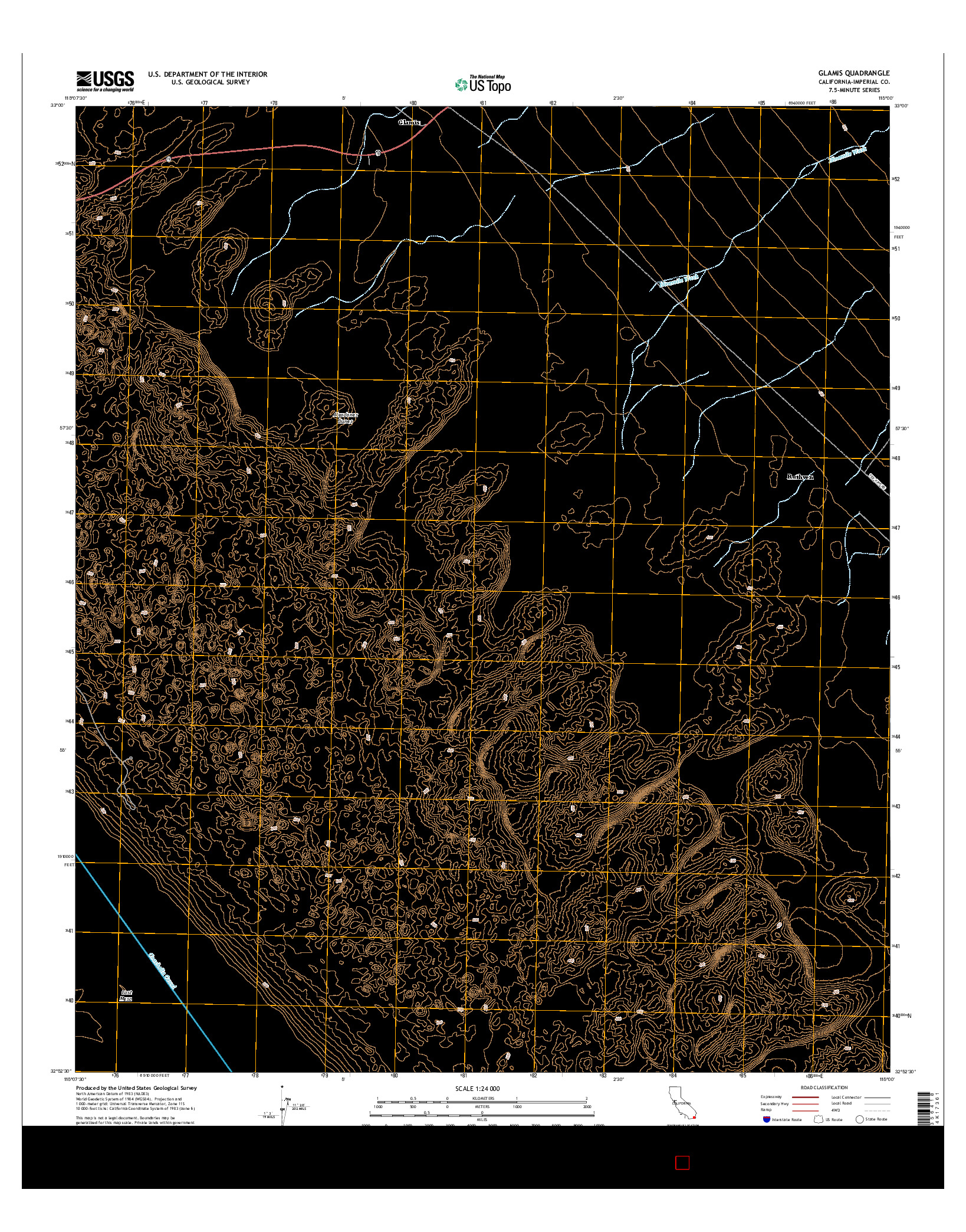 USGS US TOPO 7.5-MINUTE MAP FOR GLAMIS, CA 2015
