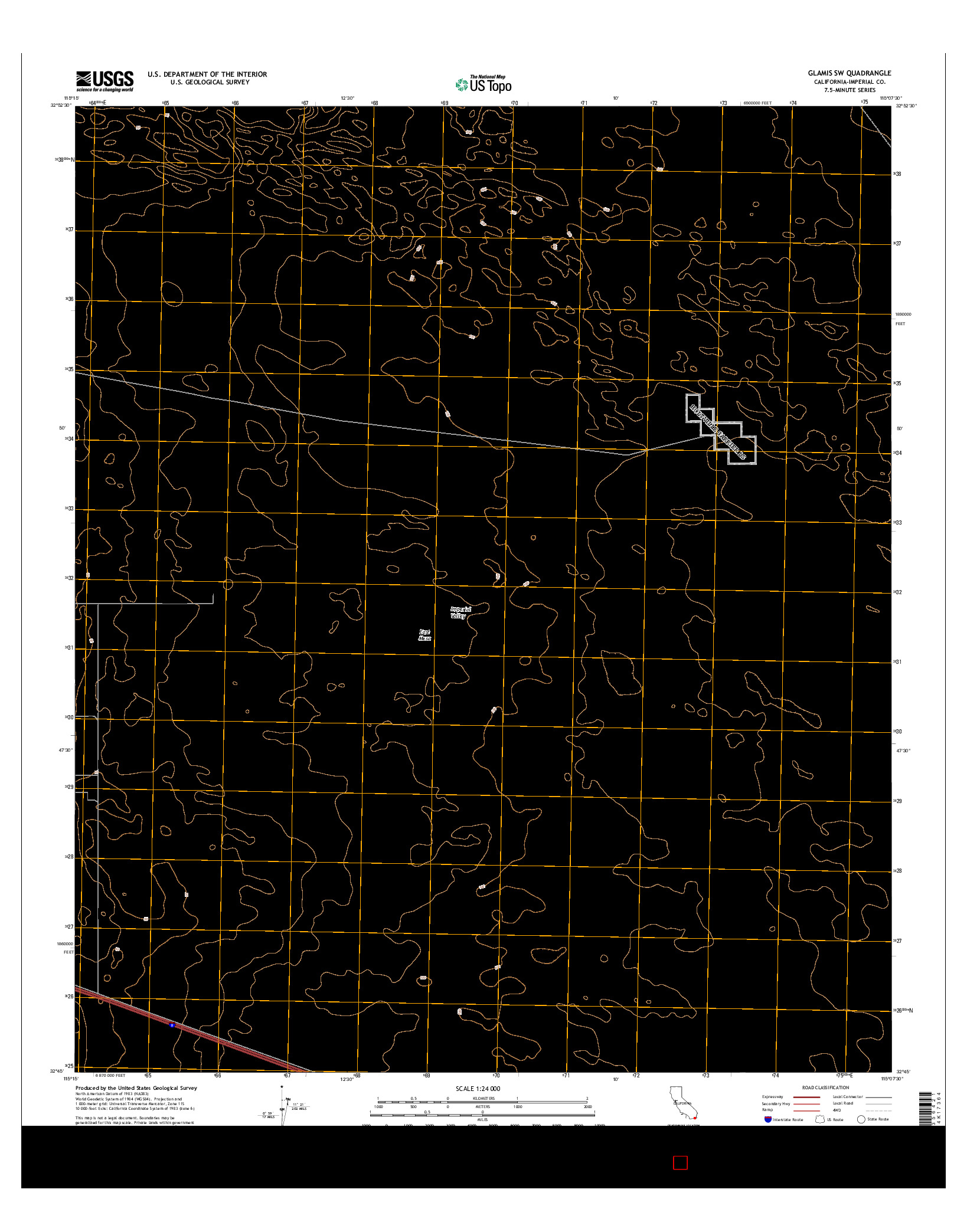 USGS US TOPO 7.5-MINUTE MAP FOR GLAMIS SW, CA 2015