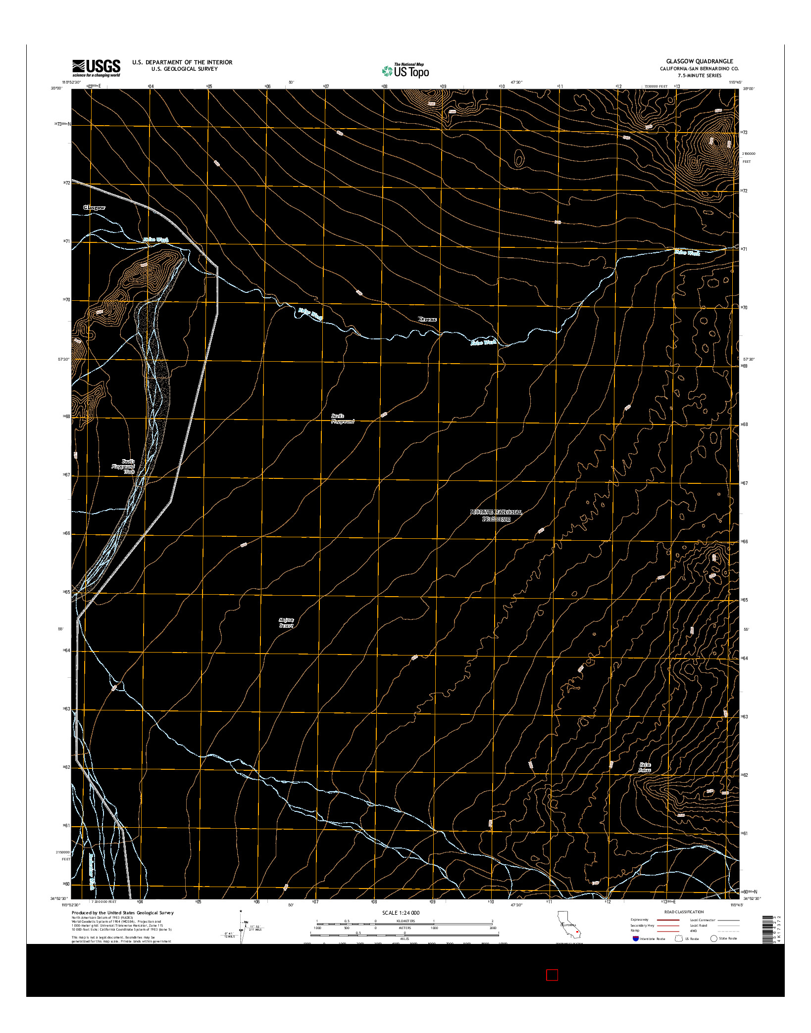 USGS US TOPO 7.5-MINUTE MAP FOR GLASGOW, CA 2015