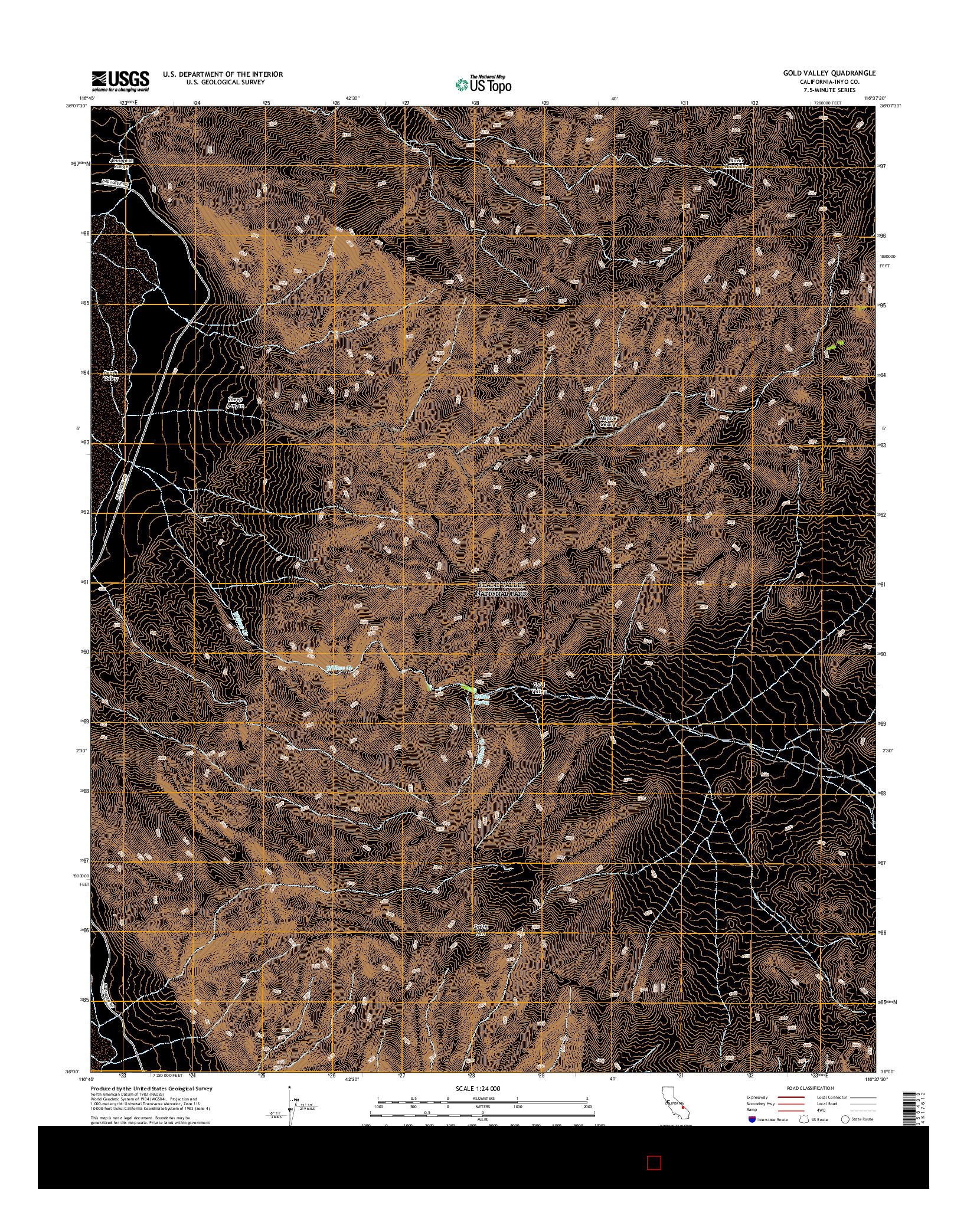 USGS US TOPO 7.5-MINUTE MAP FOR GOLD VALLEY, CA 2015