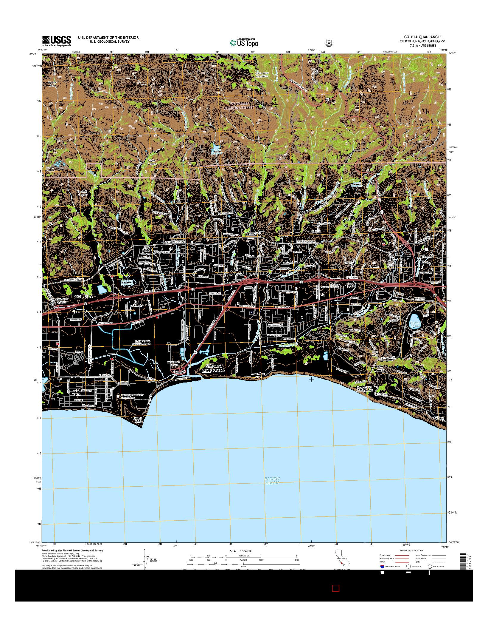 USGS US TOPO 7.5-MINUTE MAP FOR GOLETA, CA 2015