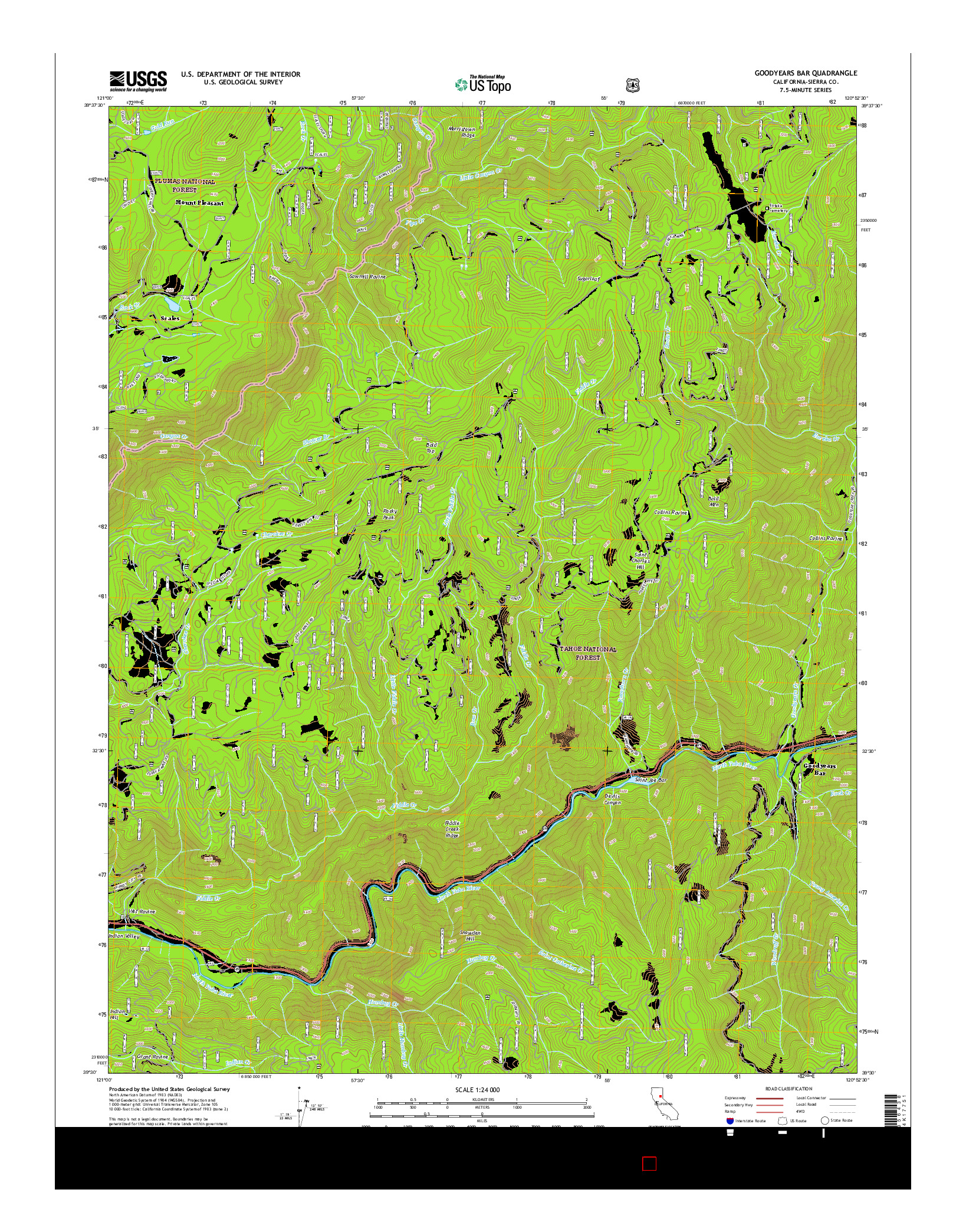 USGS US TOPO 7.5-MINUTE MAP FOR GOODYEARS BAR, CA 2015
