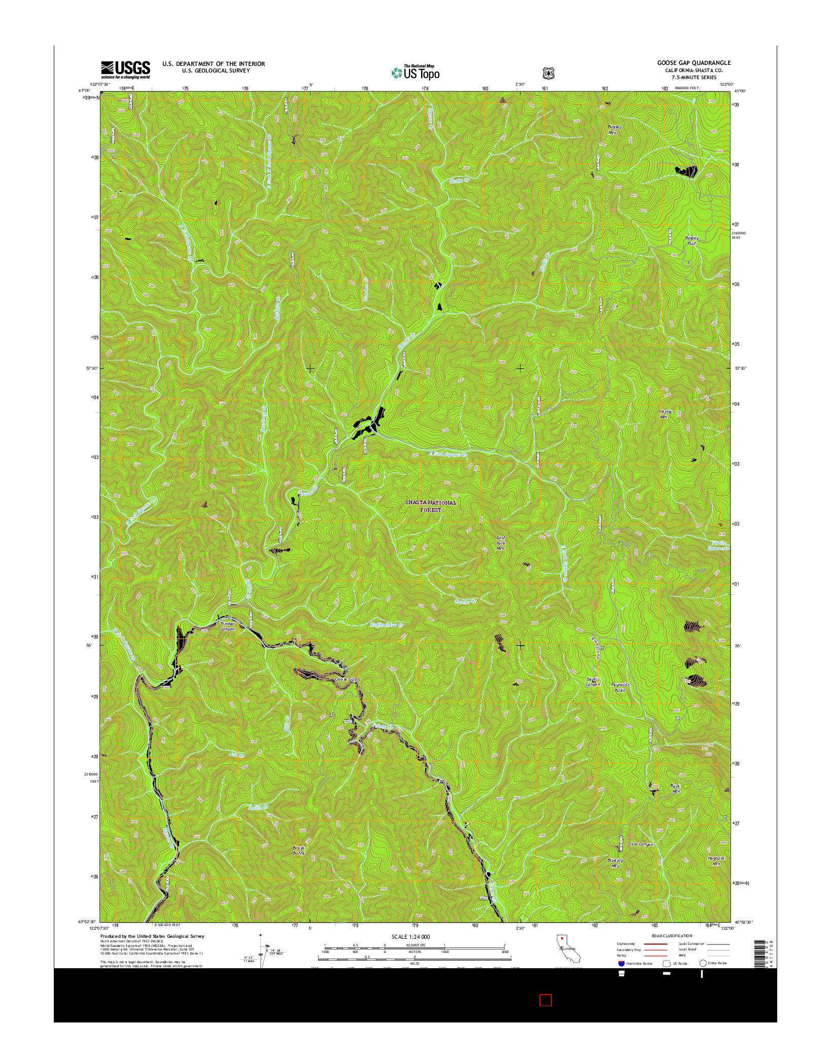 USGS US TOPO 7.5-MINUTE MAP FOR GOOSE GAP, CA 2015