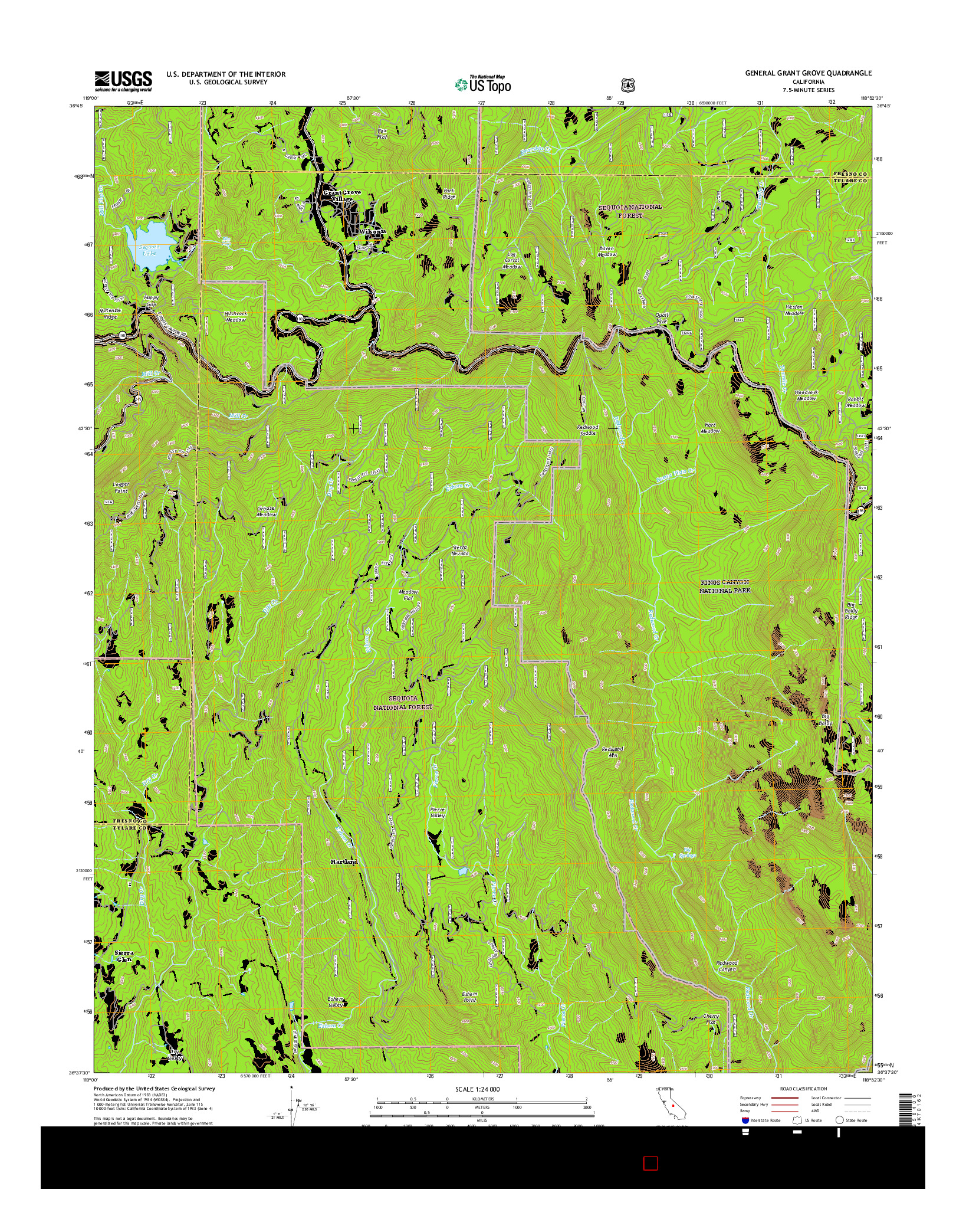USGS US TOPO 7.5-MINUTE MAP FOR GENERAL GRANT GROVE, CA 2015