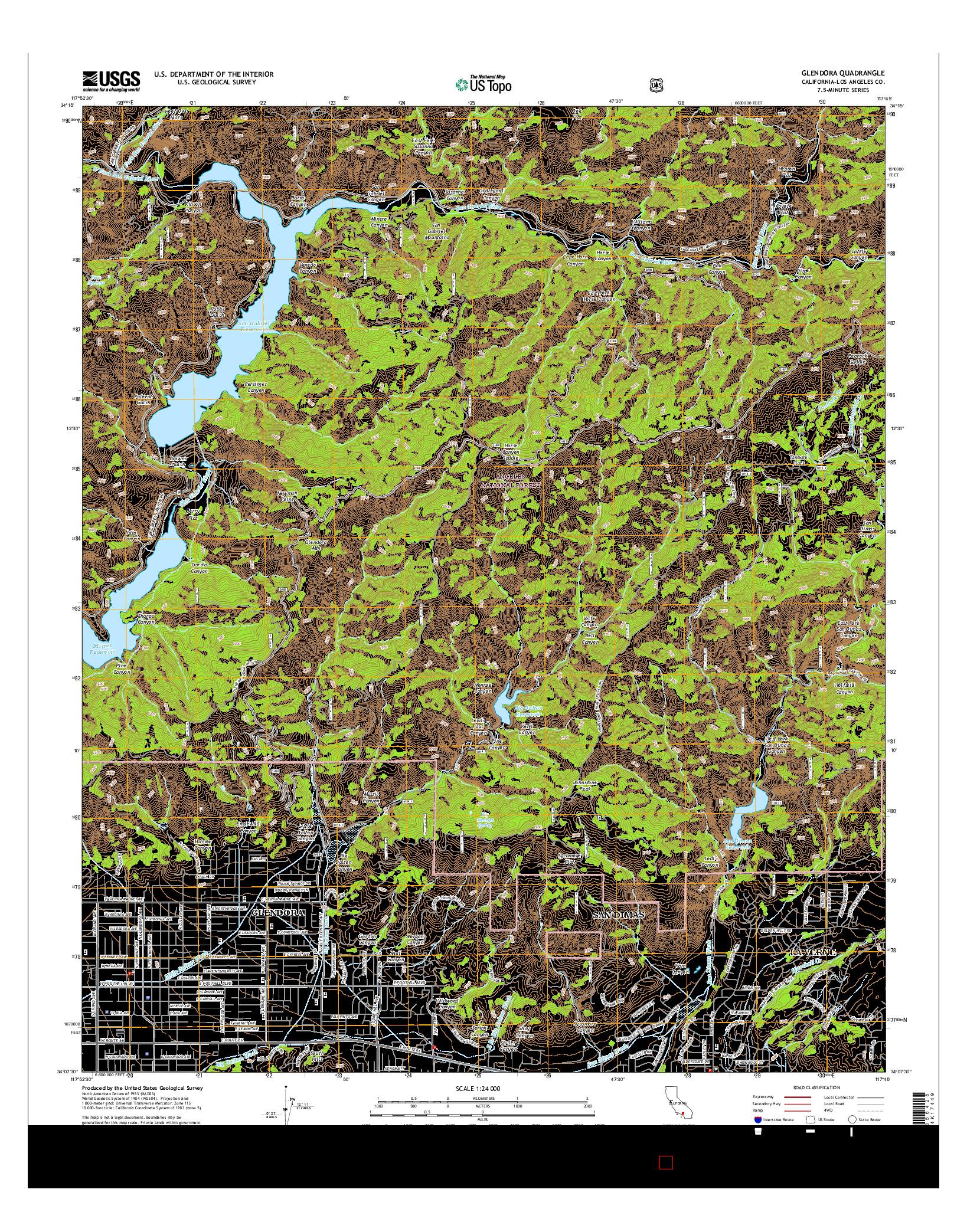 USGS US TOPO 7.5-MINUTE MAP FOR GLENDORA, CA 2015