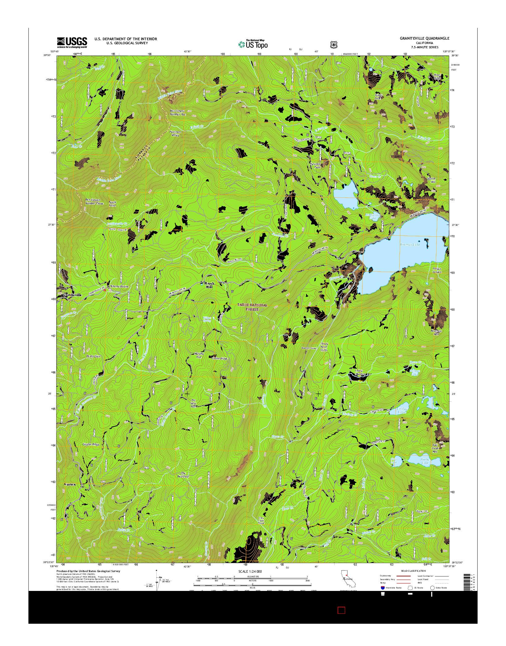 USGS US TOPO 7.5-MINUTE MAP FOR GRANITEVILLE, CA 2015