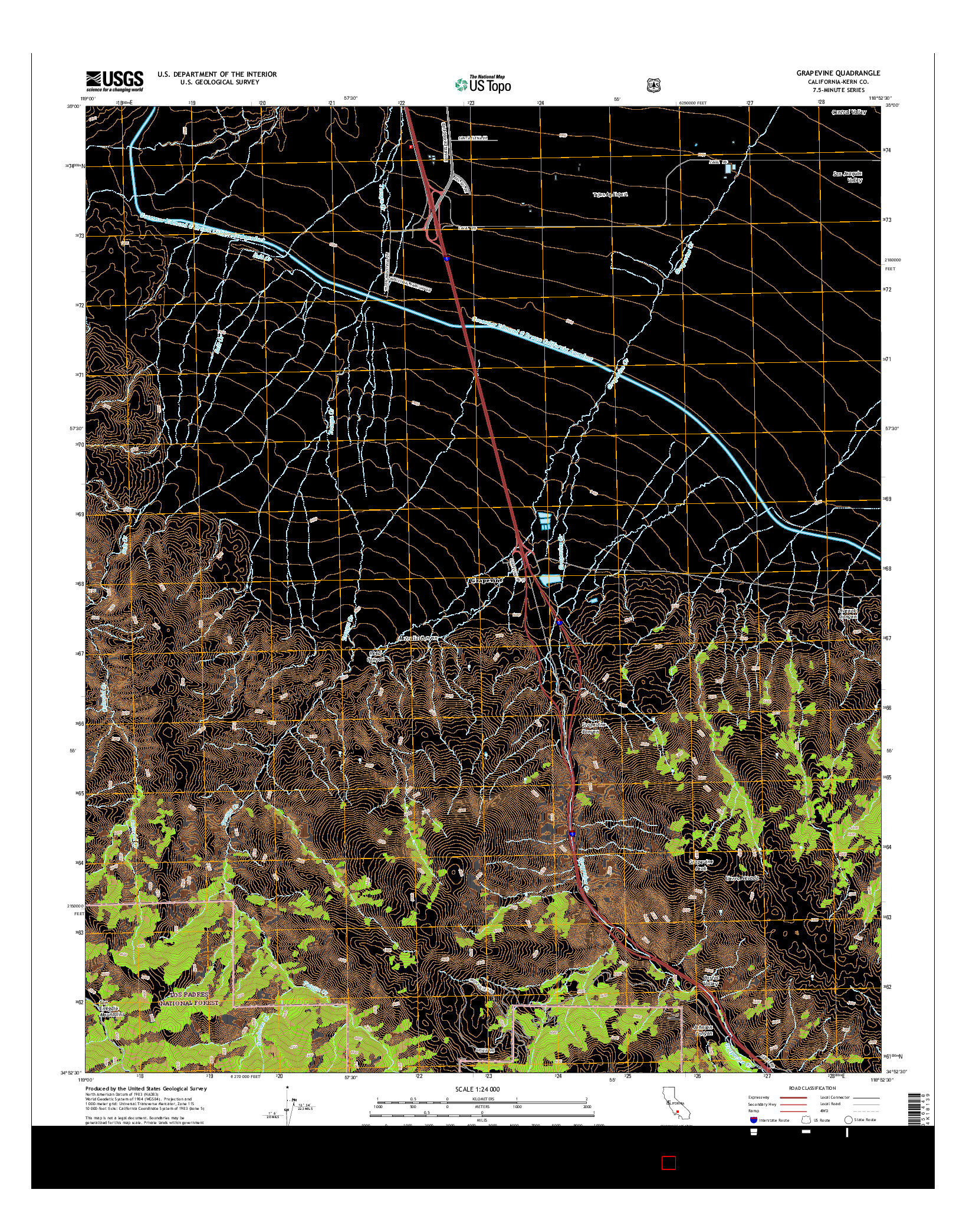 USGS US TOPO 7.5-MINUTE MAP FOR GRAPEVINE, CA 2015