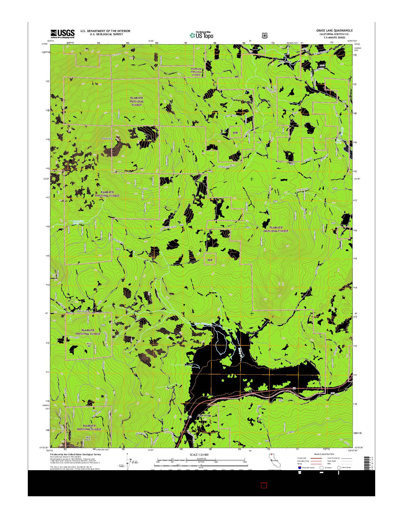 USGS US TOPO 7.5-MINUTE MAP FOR GRASS LAKE, CA 2015