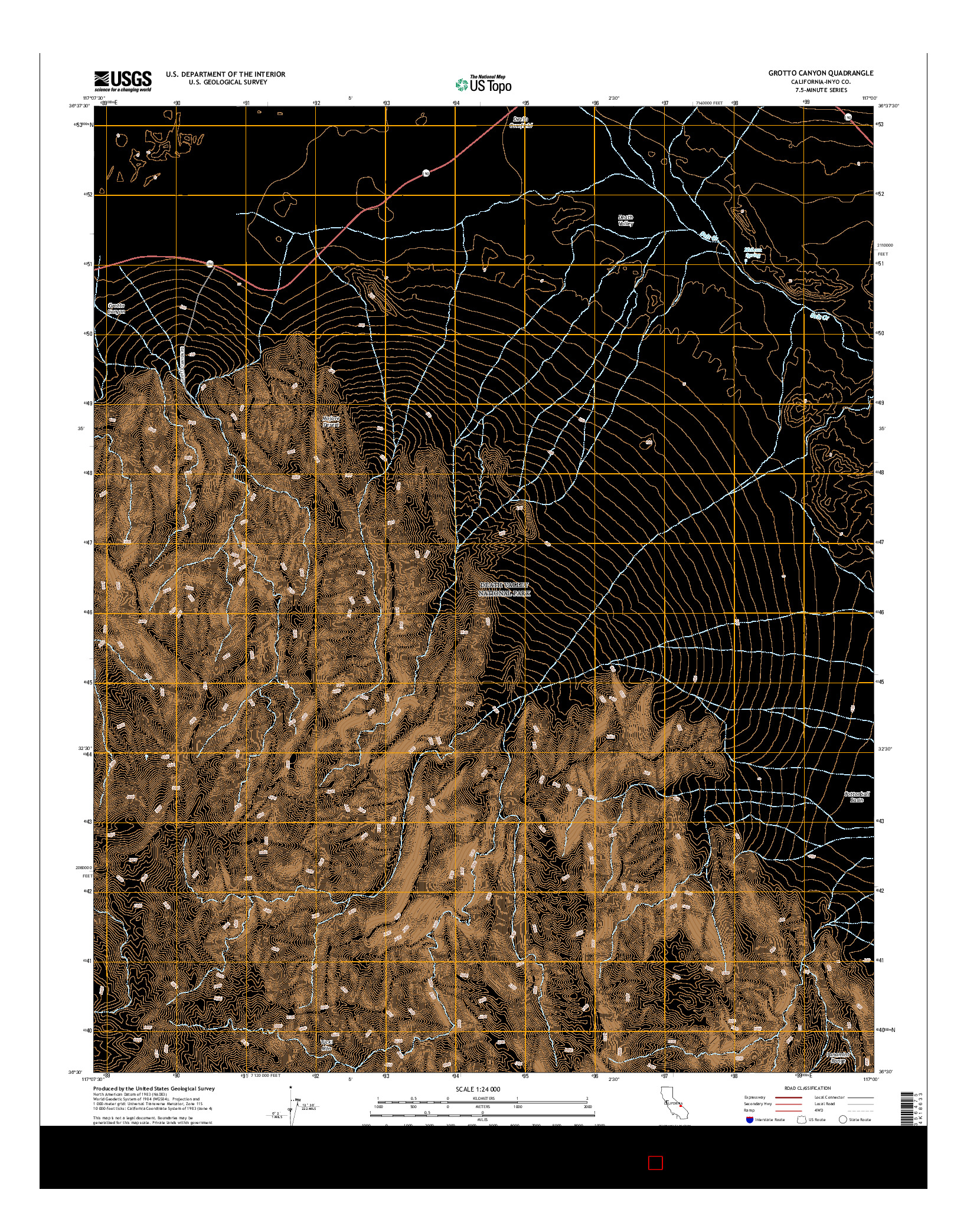 USGS US TOPO 7.5-MINUTE MAP FOR GROTTO CANYON, CA 2015