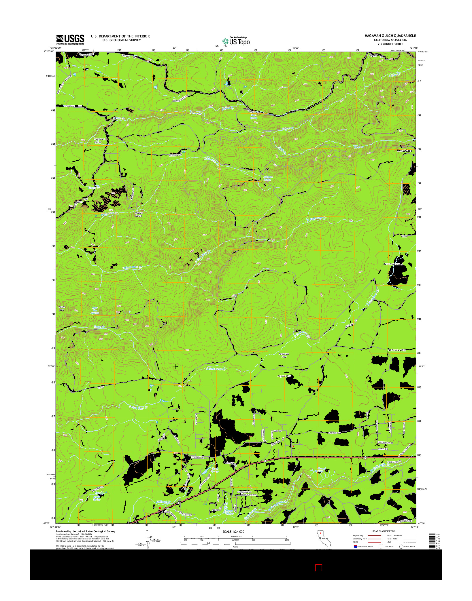USGS US TOPO 7.5-MINUTE MAP FOR HAGAMAN GULCH, CA 2015