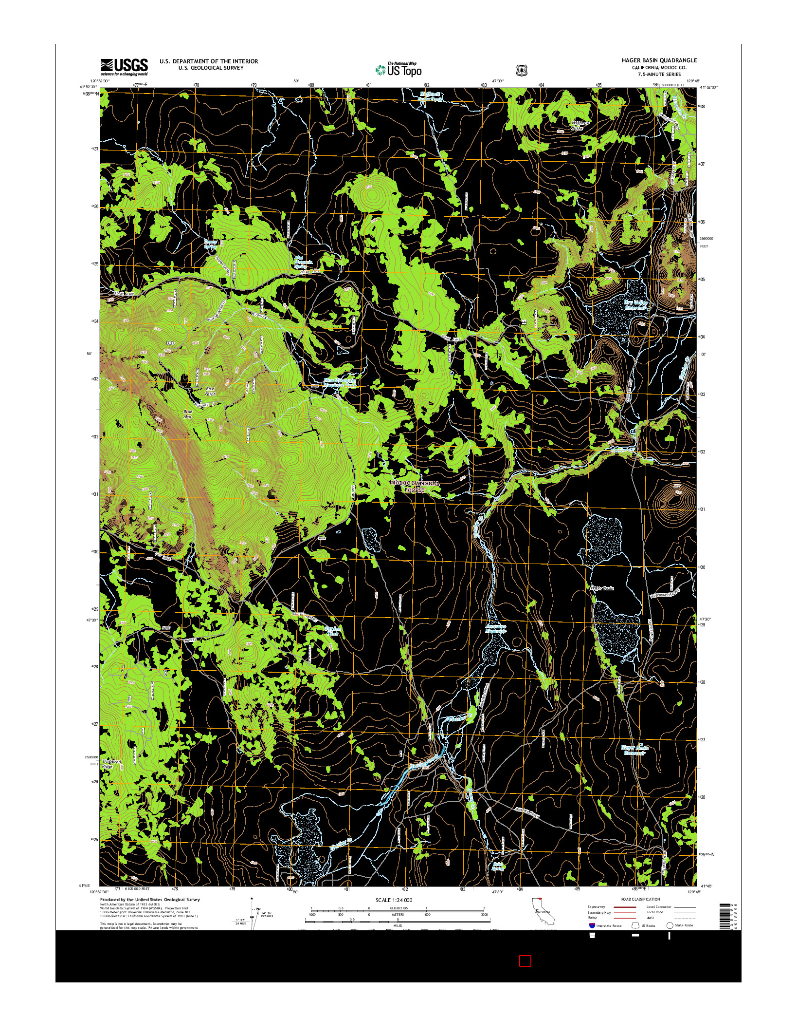 USGS US TOPO 7.5-MINUTE MAP FOR HAGER BASIN, CA 2015