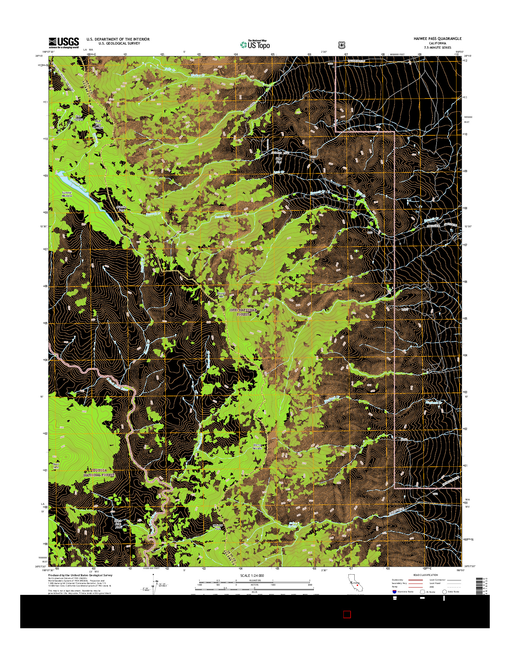 USGS US TOPO 7.5-MINUTE MAP FOR HAIWEE PASS, CA 2015