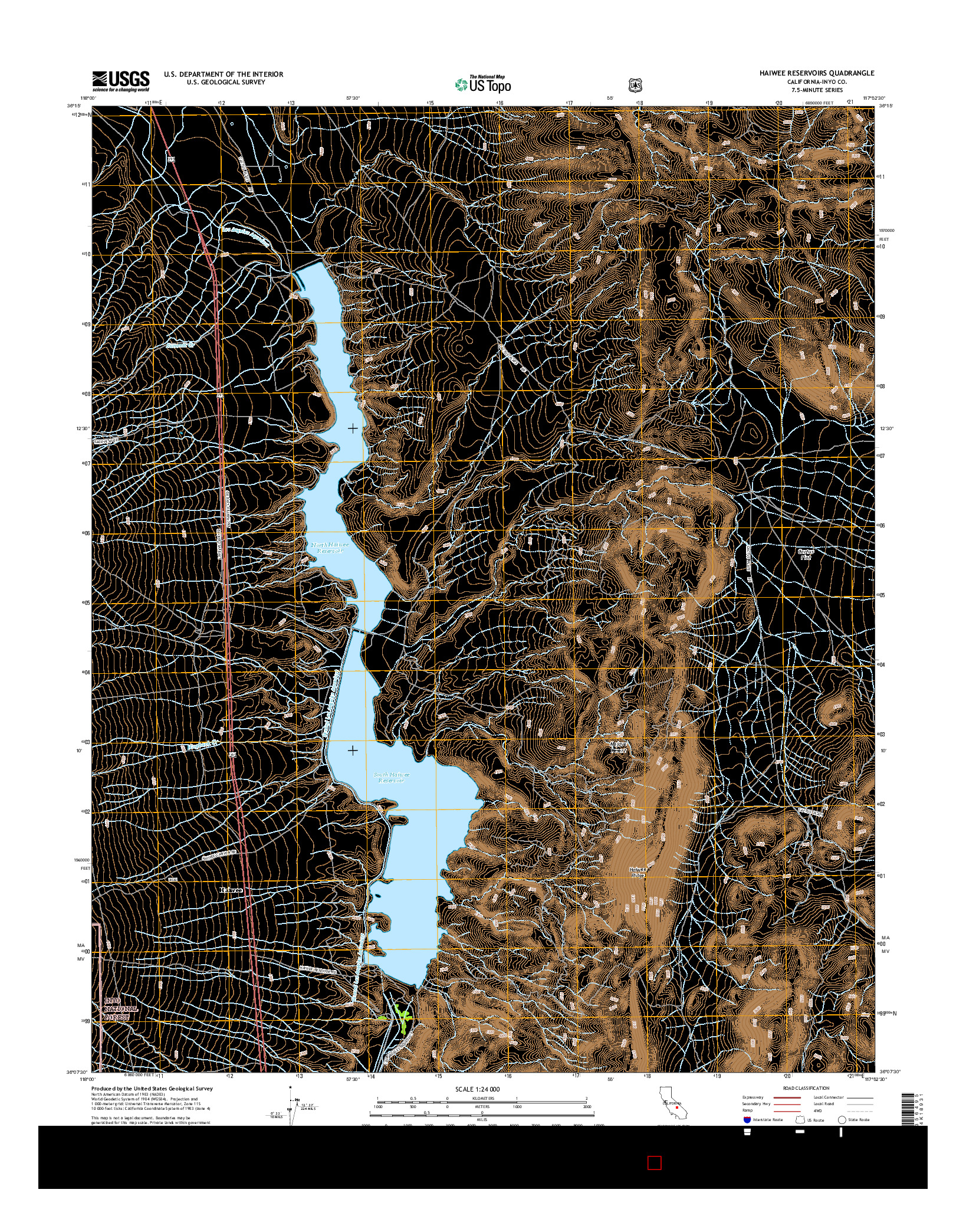 USGS US TOPO 7.5-MINUTE MAP FOR HAIWEE RESERVOIRS, CA 2015