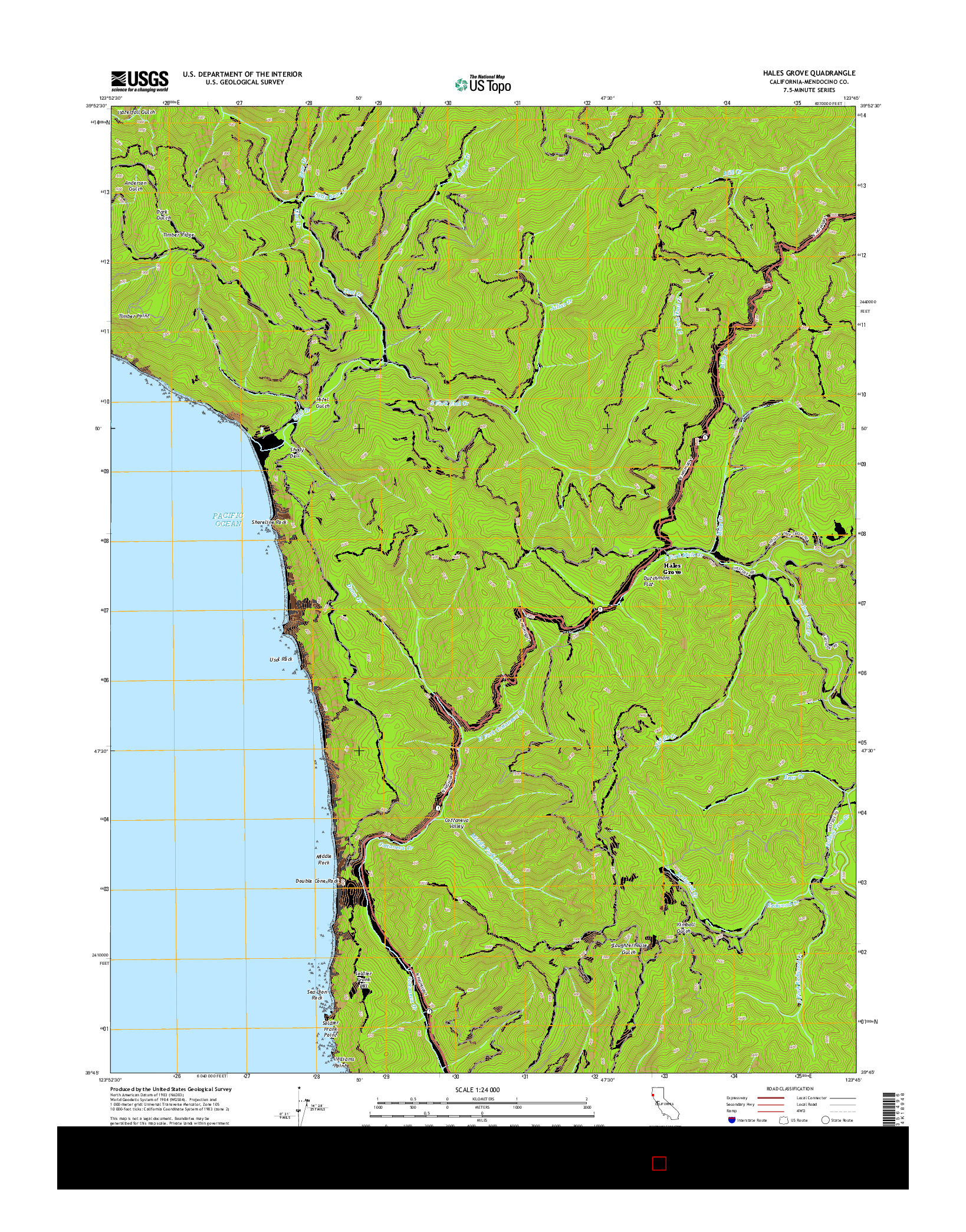 USGS US TOPO 7.5-MINUTE MAP FOR HALES GROVE, CA 2015