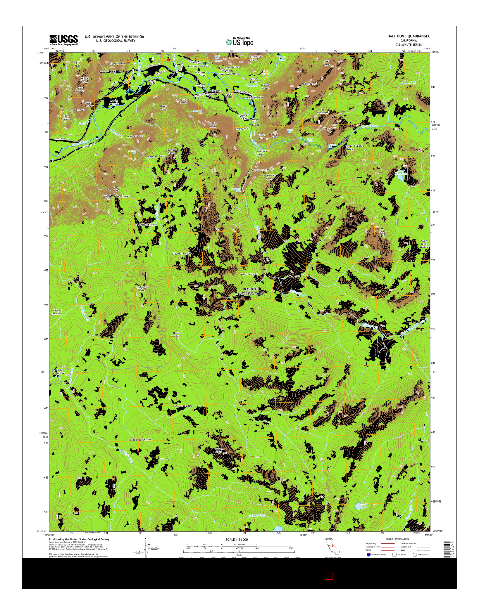 USGS US TOPO 7.5-MINUTE MAP FOR HALF DOME, CA 2015