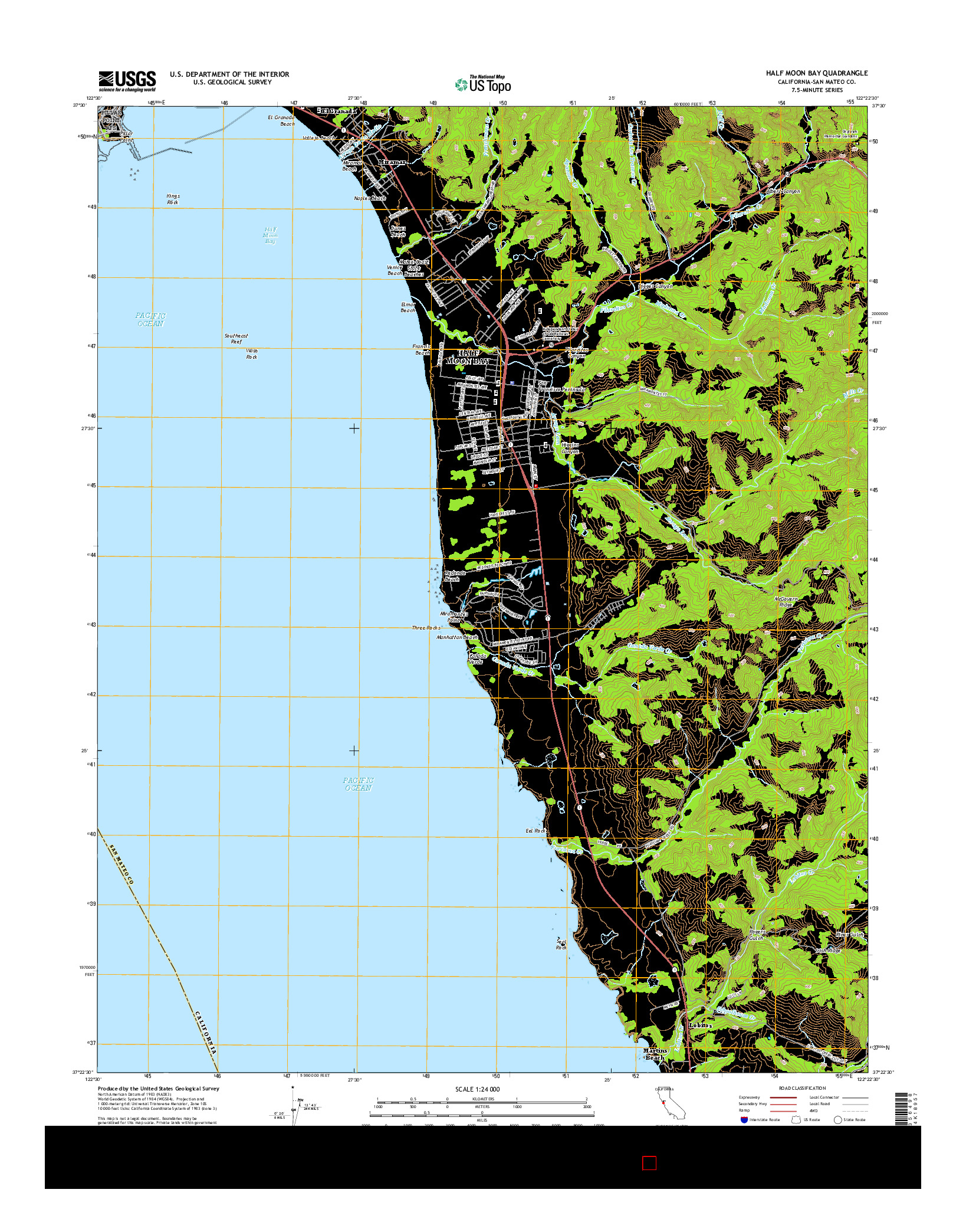 USGS US TOPO 7.5-MINUTE MAP FOR HALF MOON BAY, CA 2015