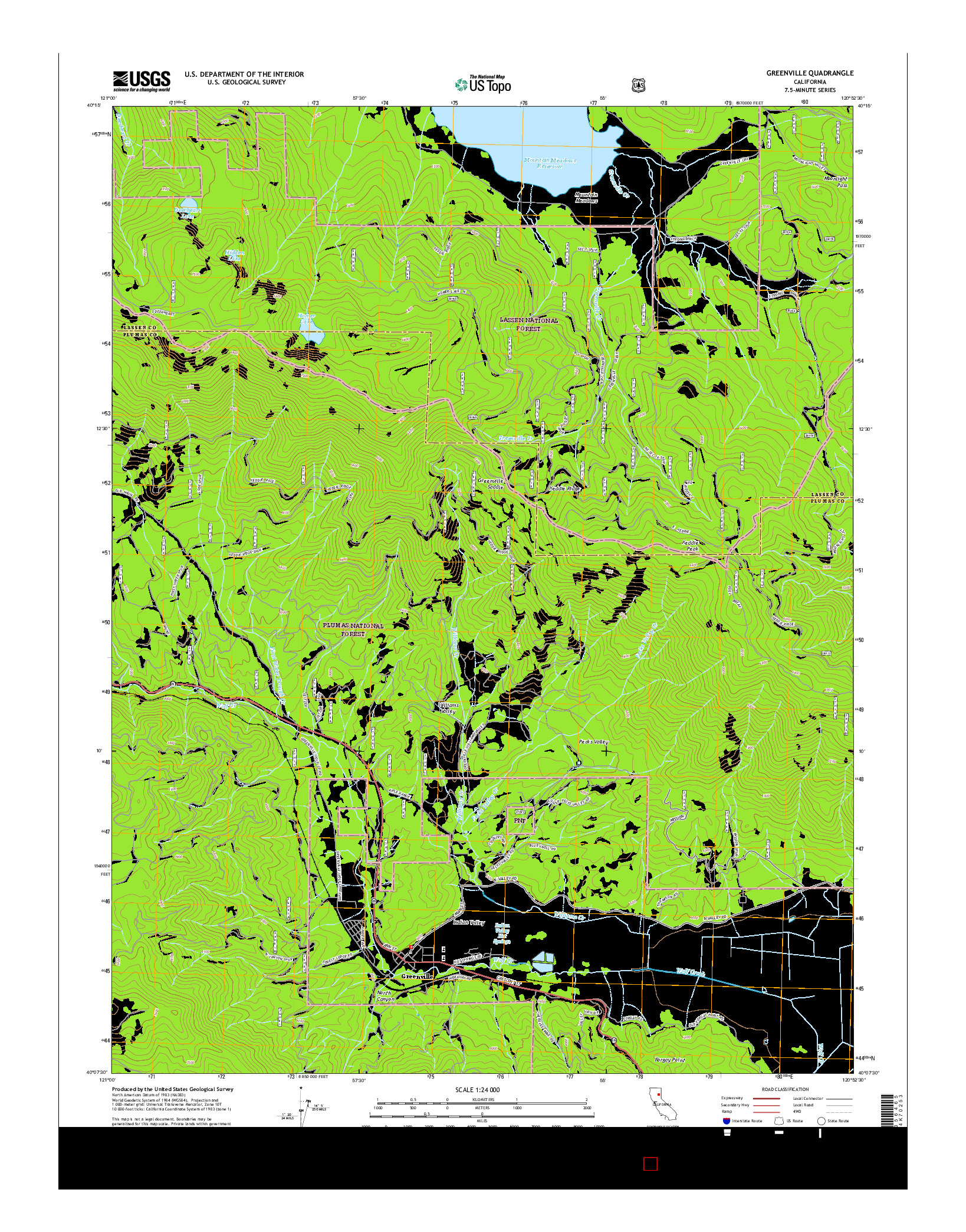 USGS US TOPO 7.5-MINUTE MAP FOR GREENVILLE, CA 2015