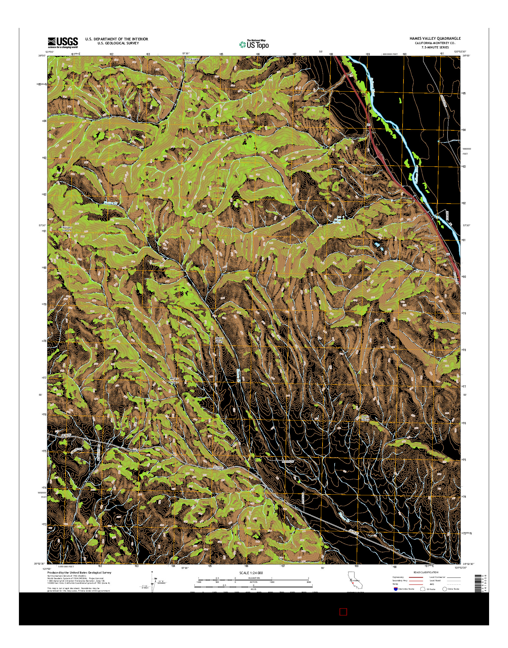 USGS US TOPO 7.5-MINUTE MAP FOR HAMES VALLEY, CA 2015
