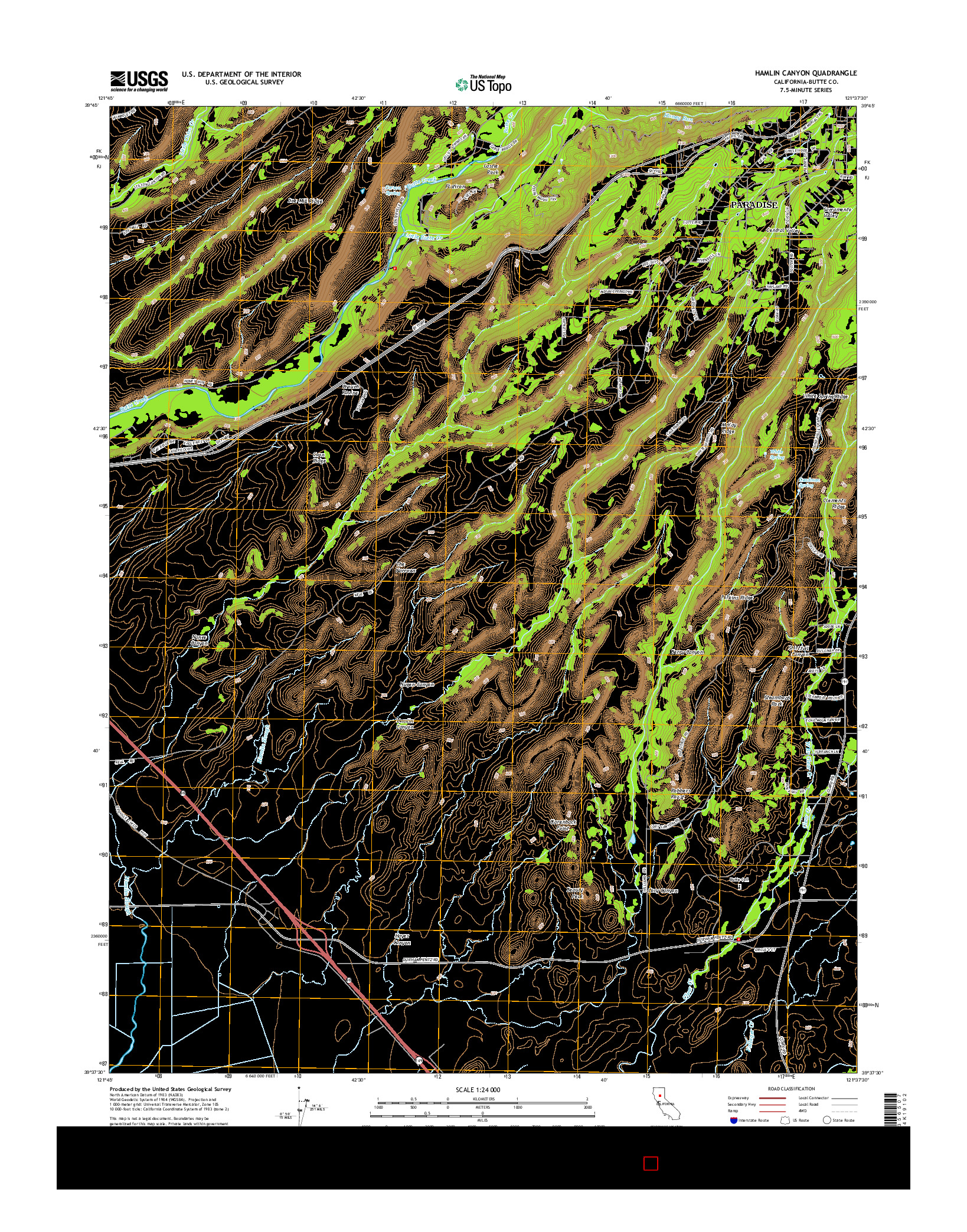 USGS US TOPO 7.5-MINUTE MAP FOR HAMLIN CANYON, CA 2015