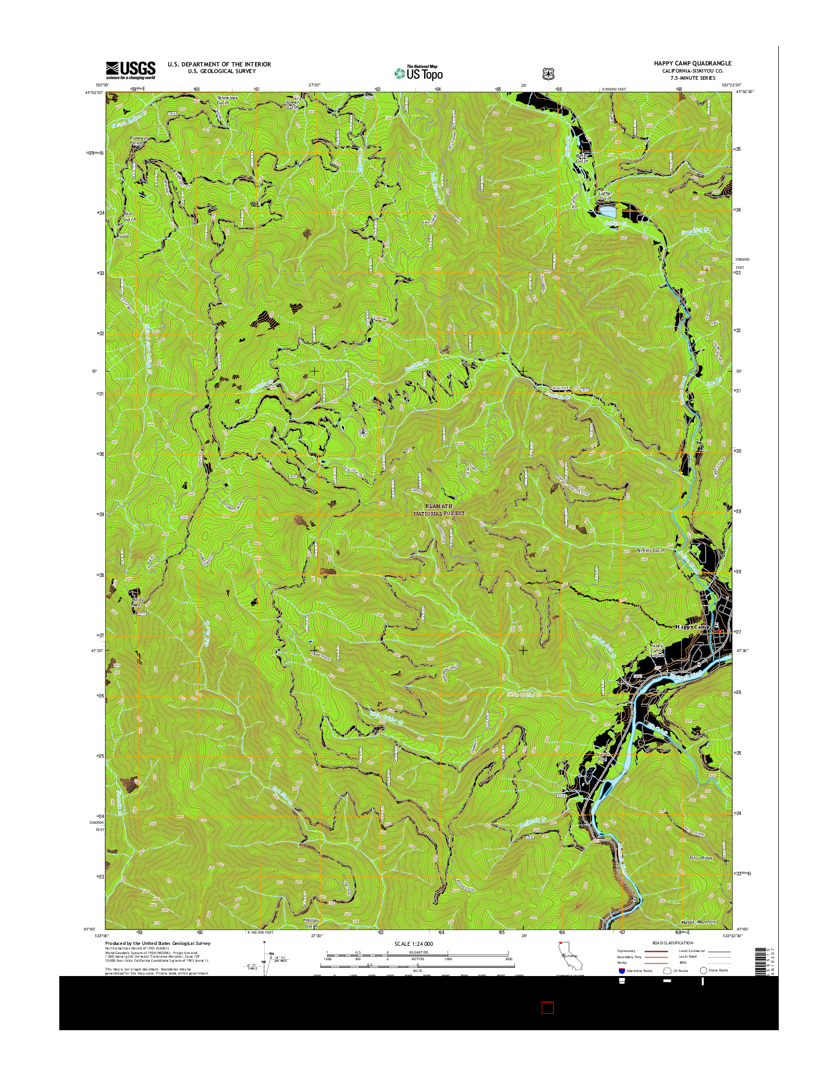 USGS US TOPO 7.5-MINUTE MAP FOR HAPPY CAMP, CA 2015