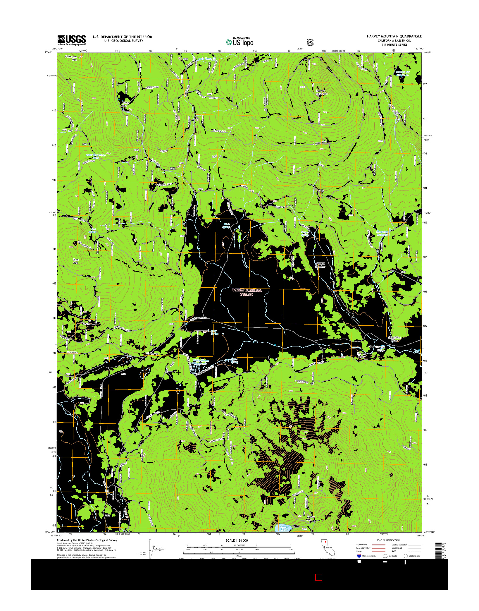 USGS US TOPO 7.5-MINUTE MAP FOR HARVEY MOUNTAIN, CA 2015