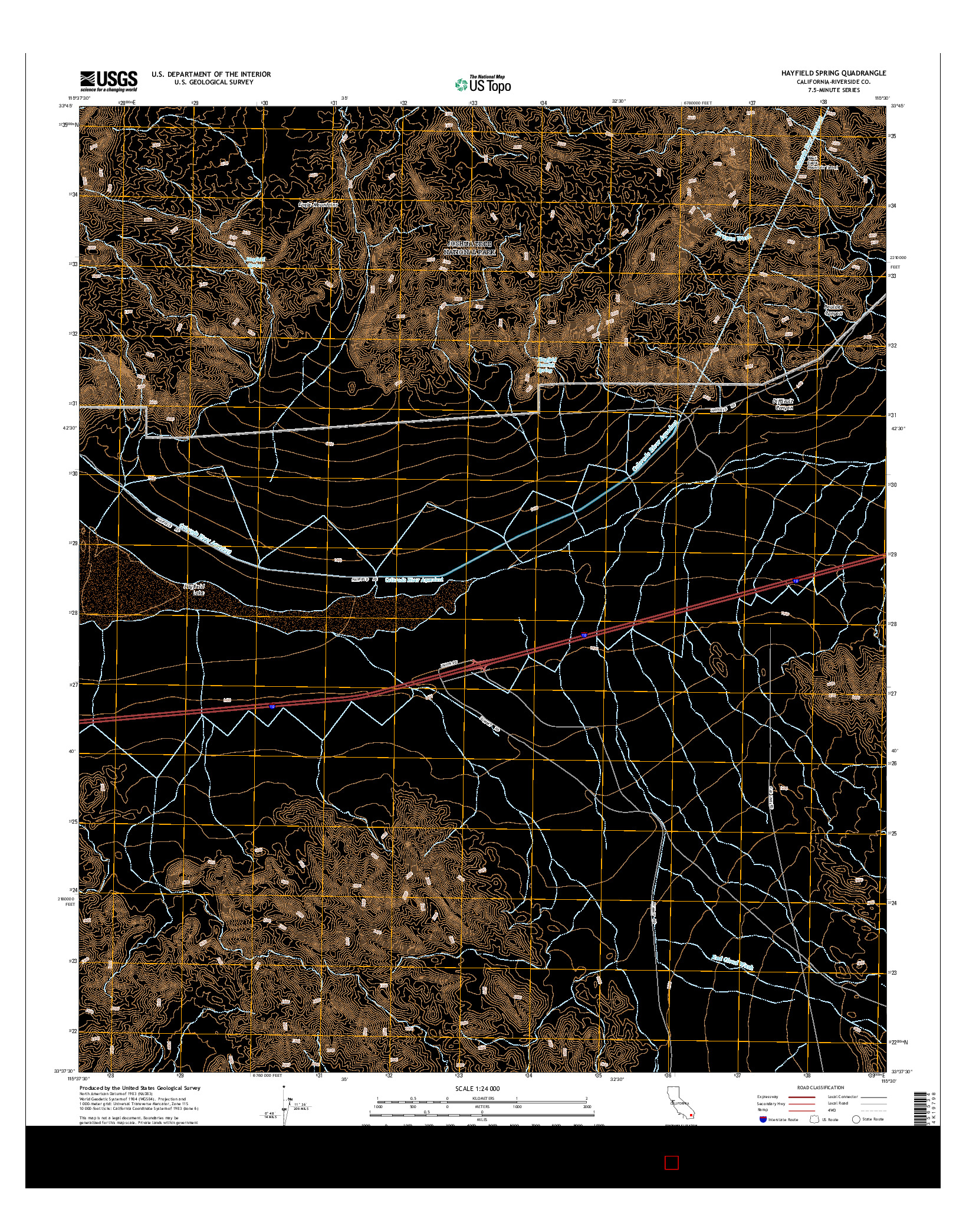 USGS US TOPO 7.5-MINUTE MAP FOR HAYFIELD SPRING, CA 2015