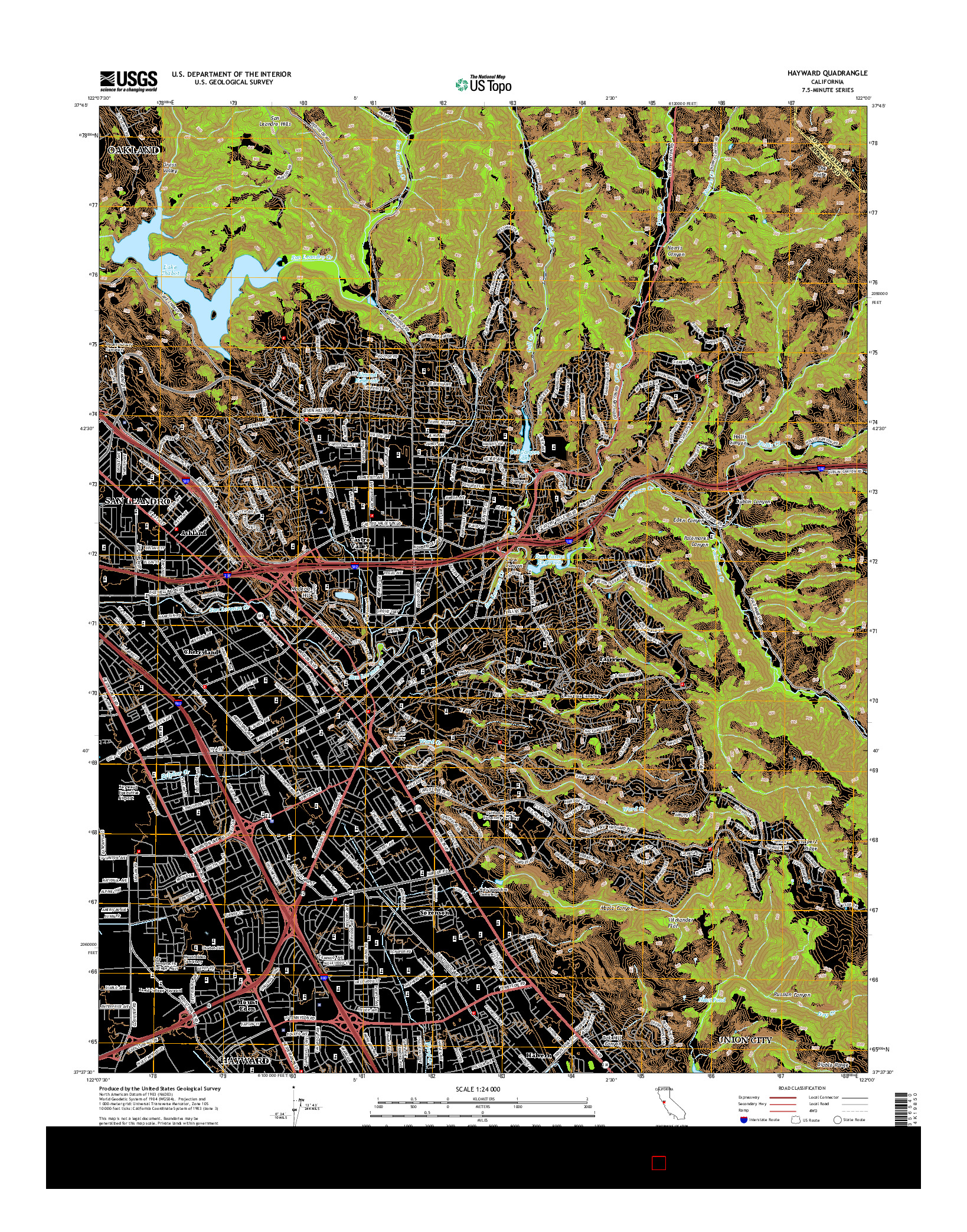 USGS US TOPO 7.5-MINUTE MAP FOR HAYWARD, CA 2015
