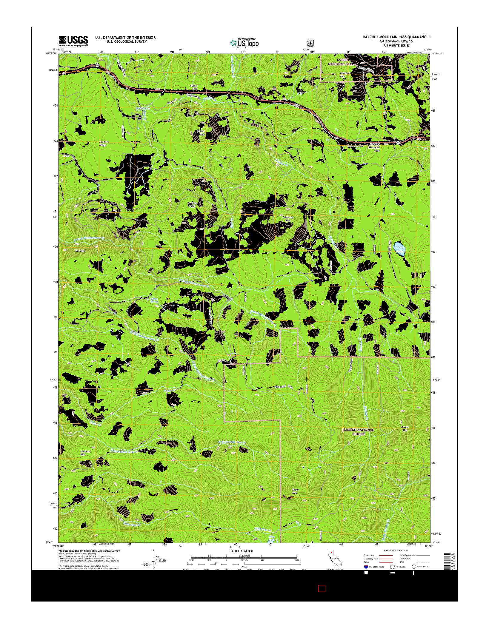 USGS US TOPO 7.5-MINUTE MAP FOR HATCHET MOUNTAIN PASS, CA 2015