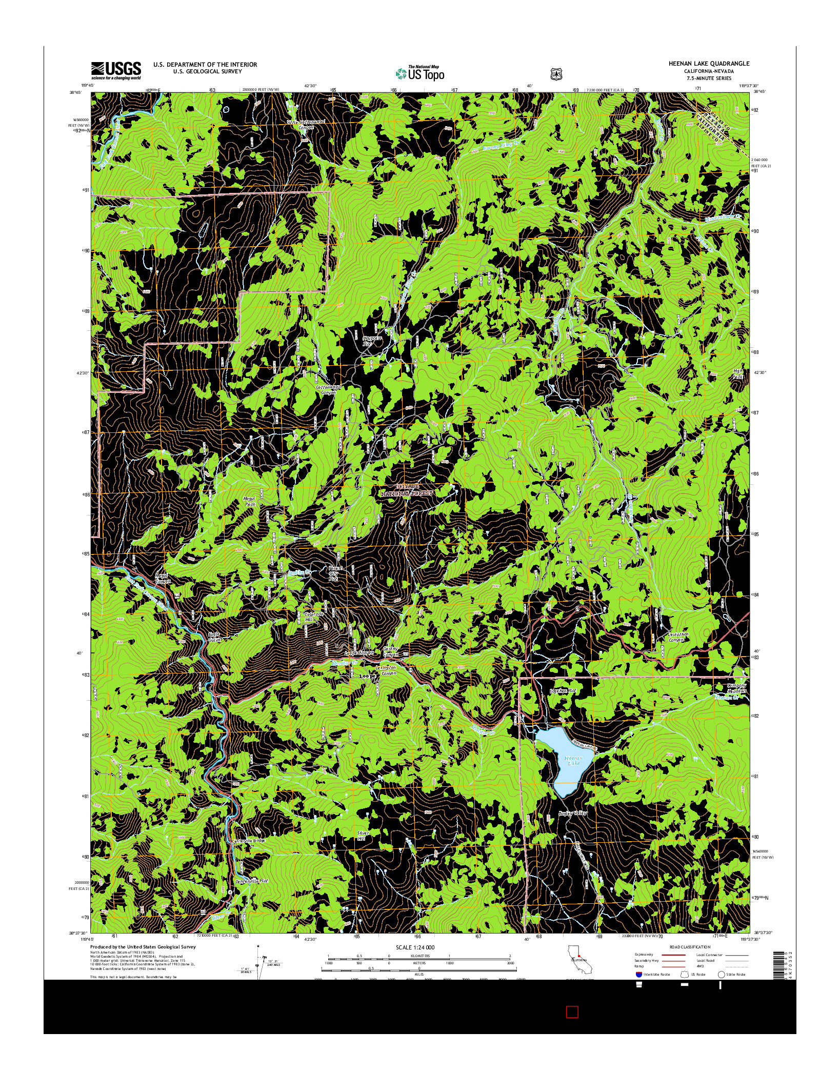 USGS US TOPO 7.5-MINUTE MAP FOR HEENAN LAKE, CA-NV 2015