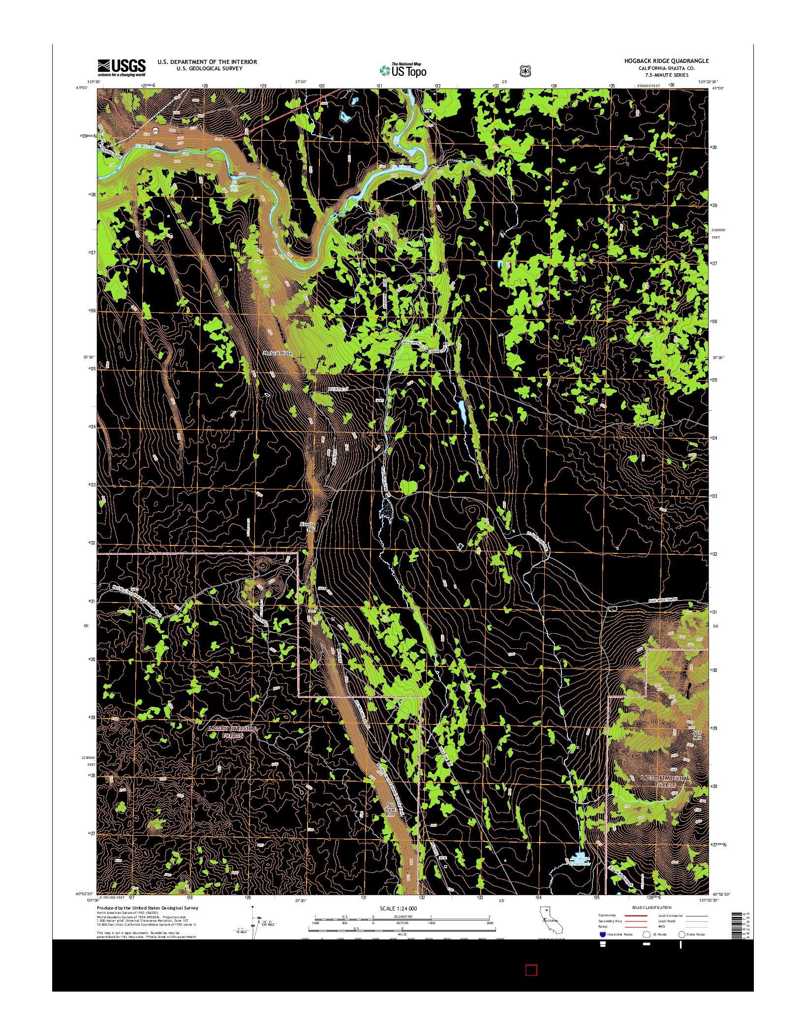 USGS US TOPO 7.5-MINUTE MAP FOR HOGBACK RIDGE, CA 2015
