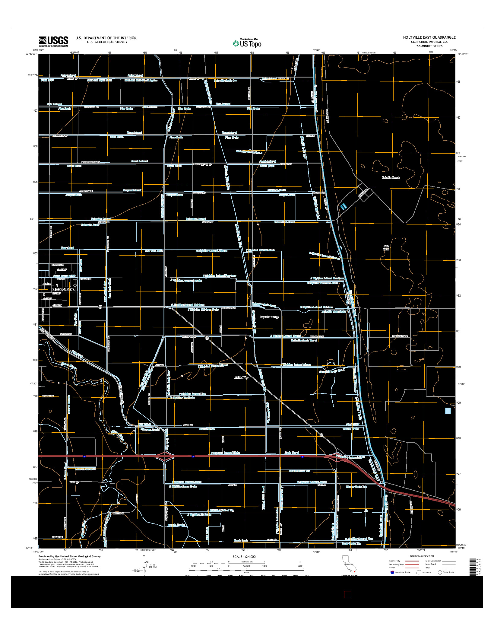 USGS US TOPO 7.5-MINUTE MAP FOR HOLTVILLE EAST, CA 2015