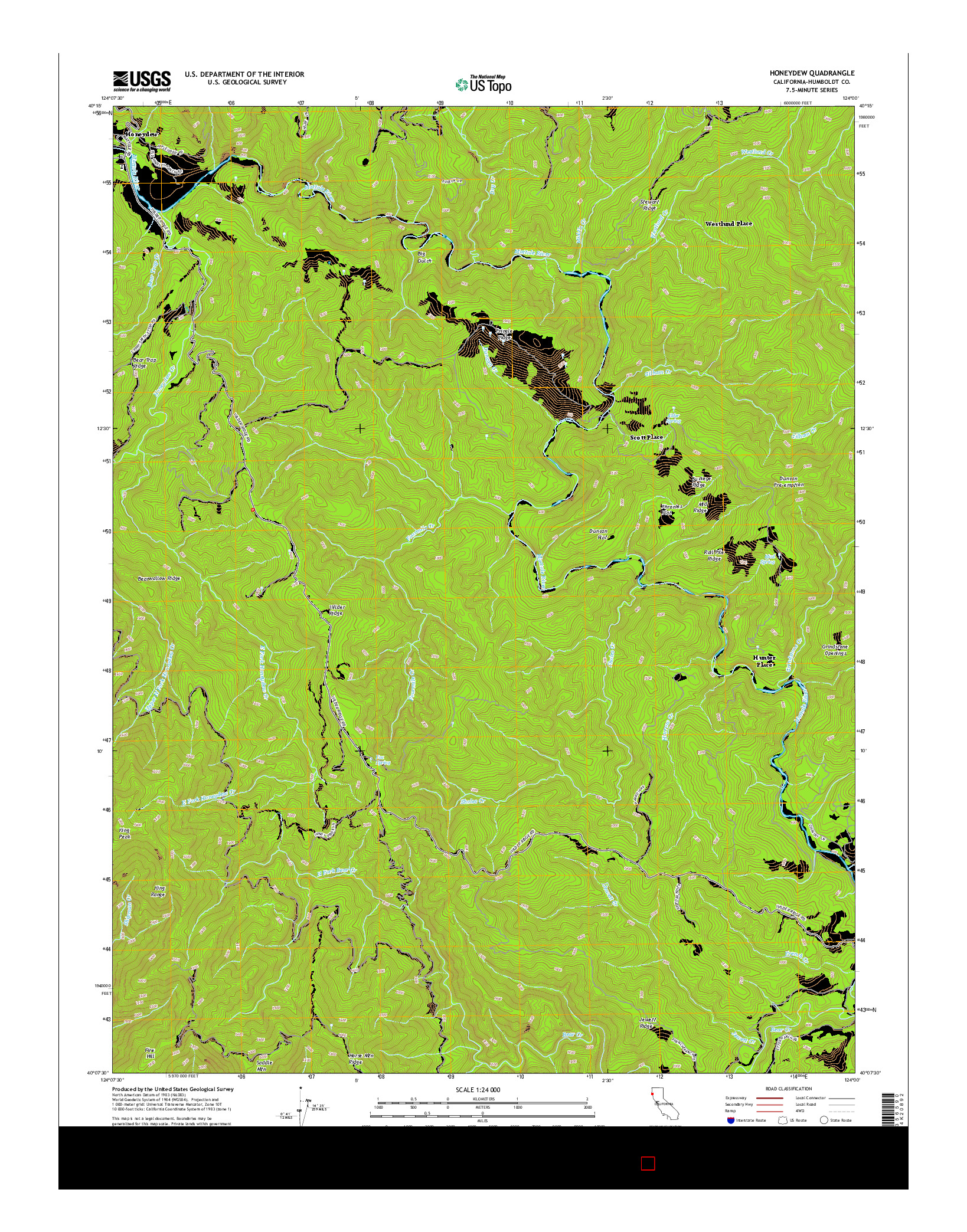 USGS US TOPO 7.5-MINUTE MAP FOR HONEYDEW, CA 2015