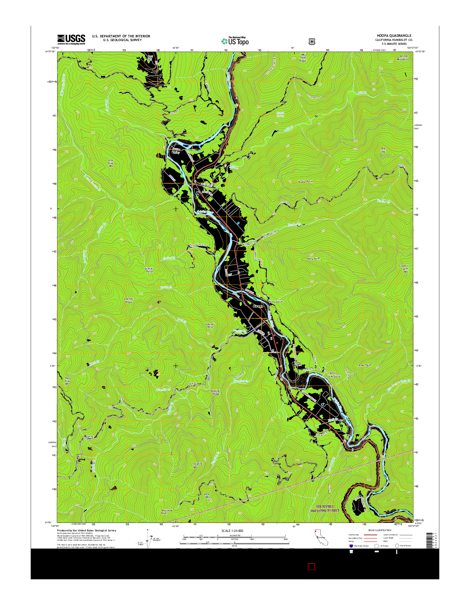 USGS US TOPO 7.5-MINUTE MAP FOR HOOPA, CA 2015