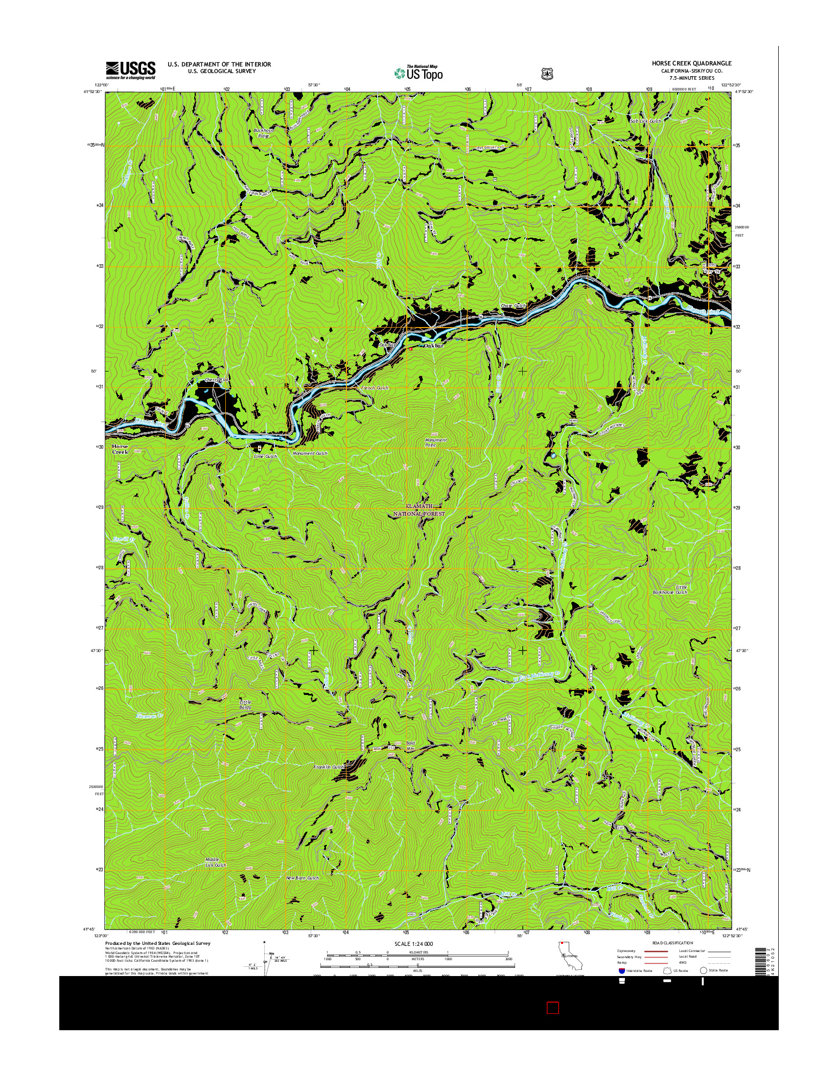 USGS US TOPO 7.5-MINUTE MAP FOR HORSE CREEK, CA 2015