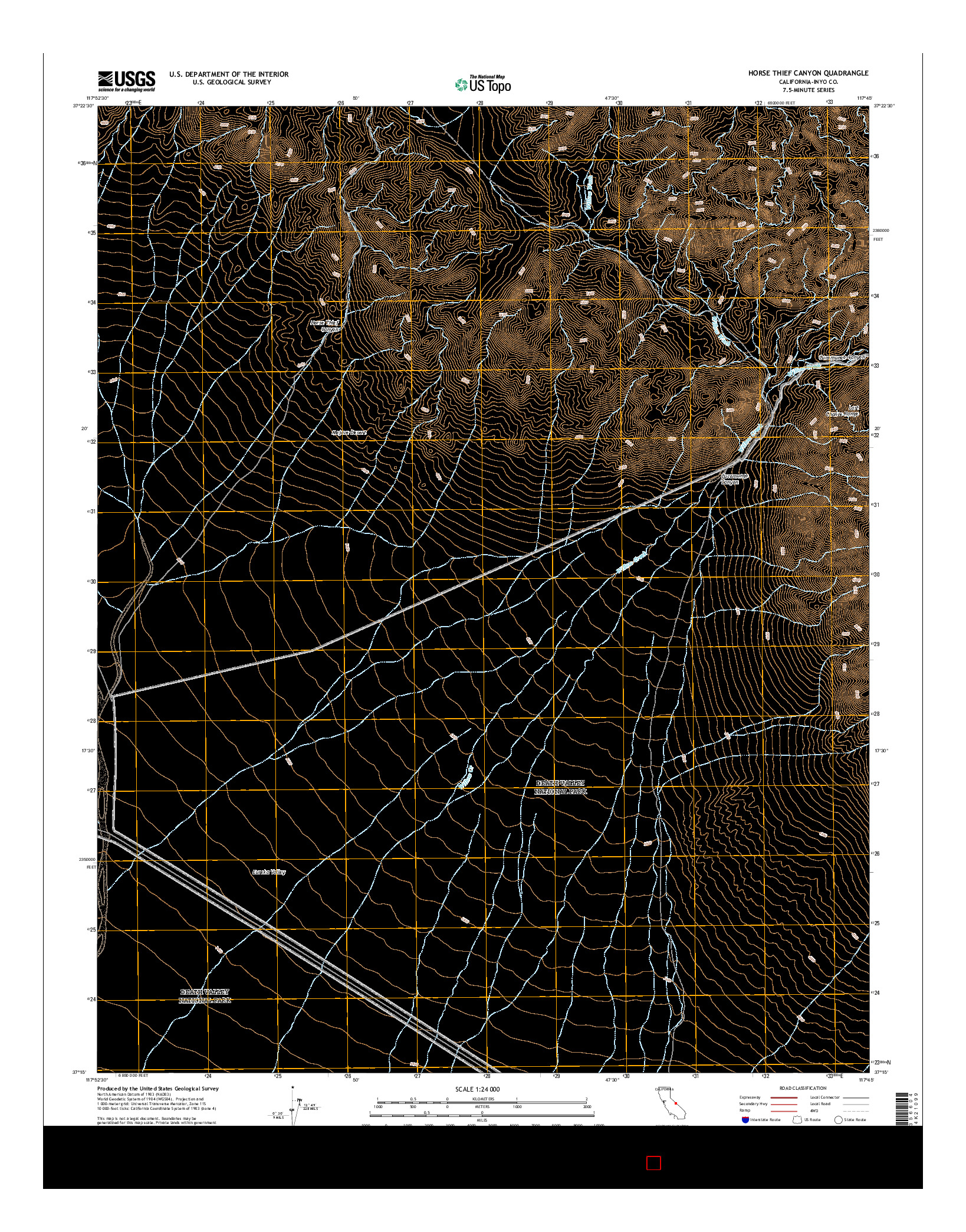 USGS US TOPO 7.5-MINUTE MAP FOR HORSE THIEF CANYON, CA 2015