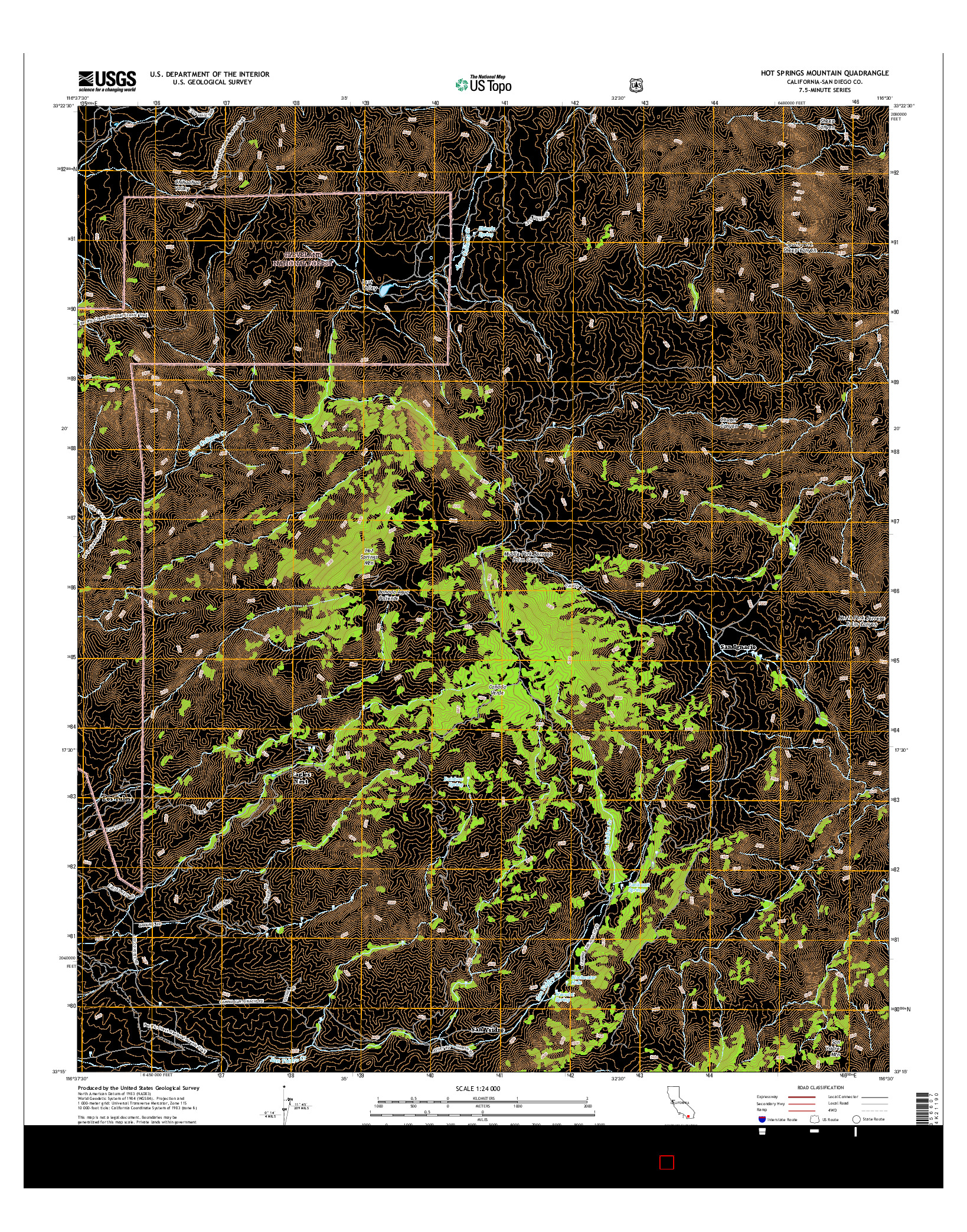 USGS US TOPO 7.5-MINUTE MAP FOR HOT SPRINGS MOUNTAIN, CA 2015