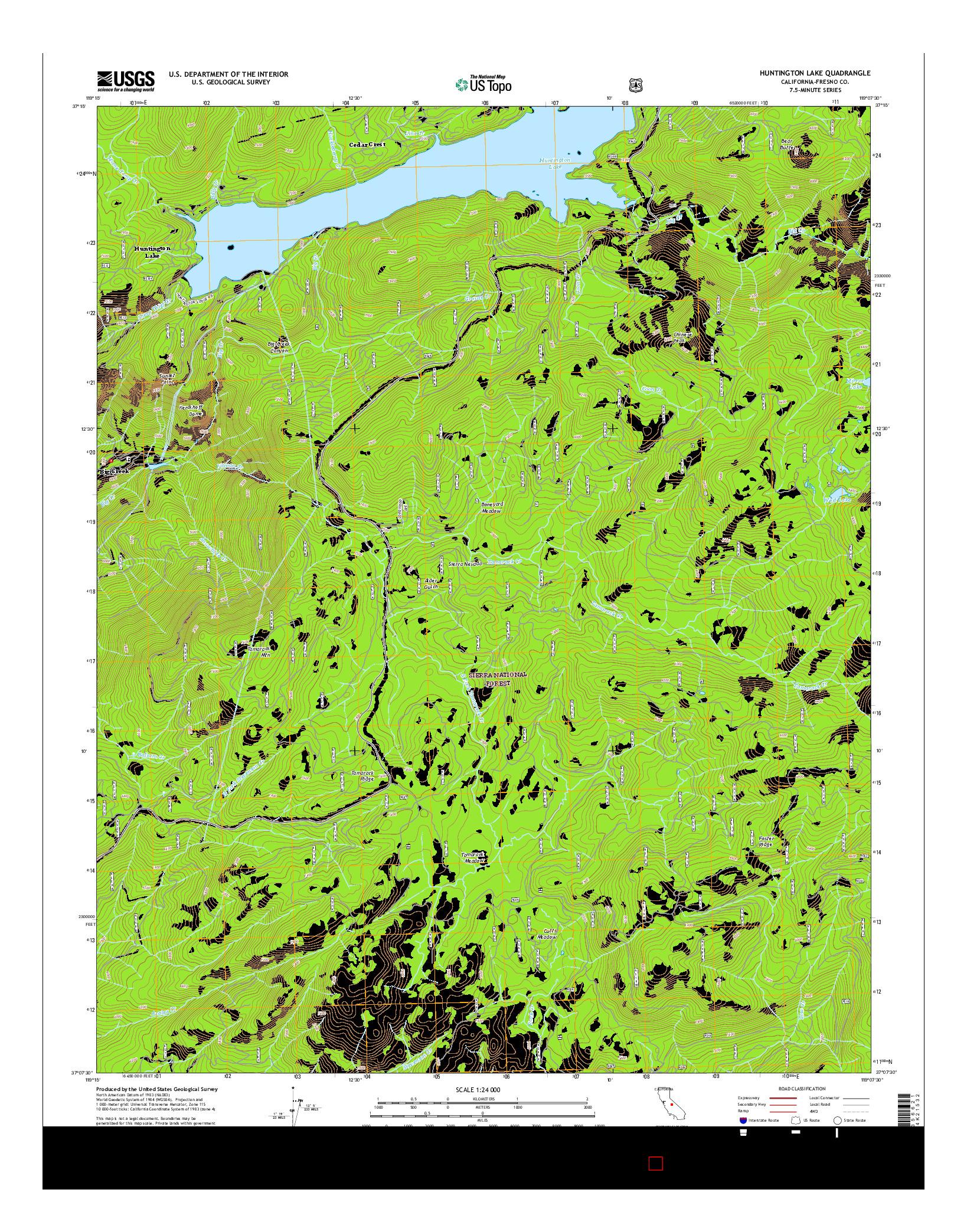 USGS US TOPO 7.5-MINUTE MAP FOR HUNTINGTON LAKE, CA 2015