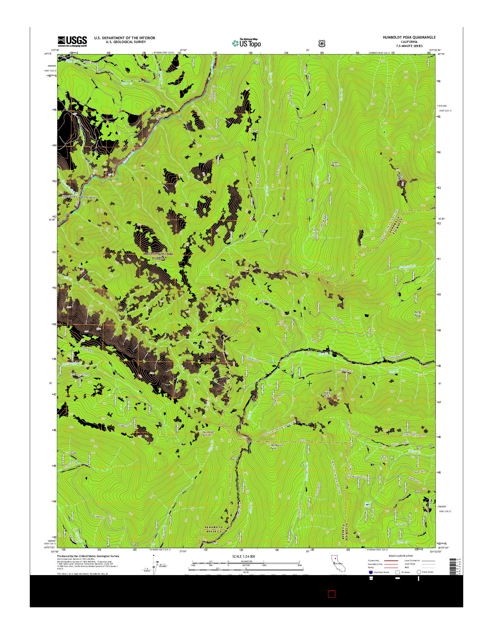 USGS US TOPO 7.5-MINUTE MAP FOR HUMBOLDT PEAK, CA 2015
