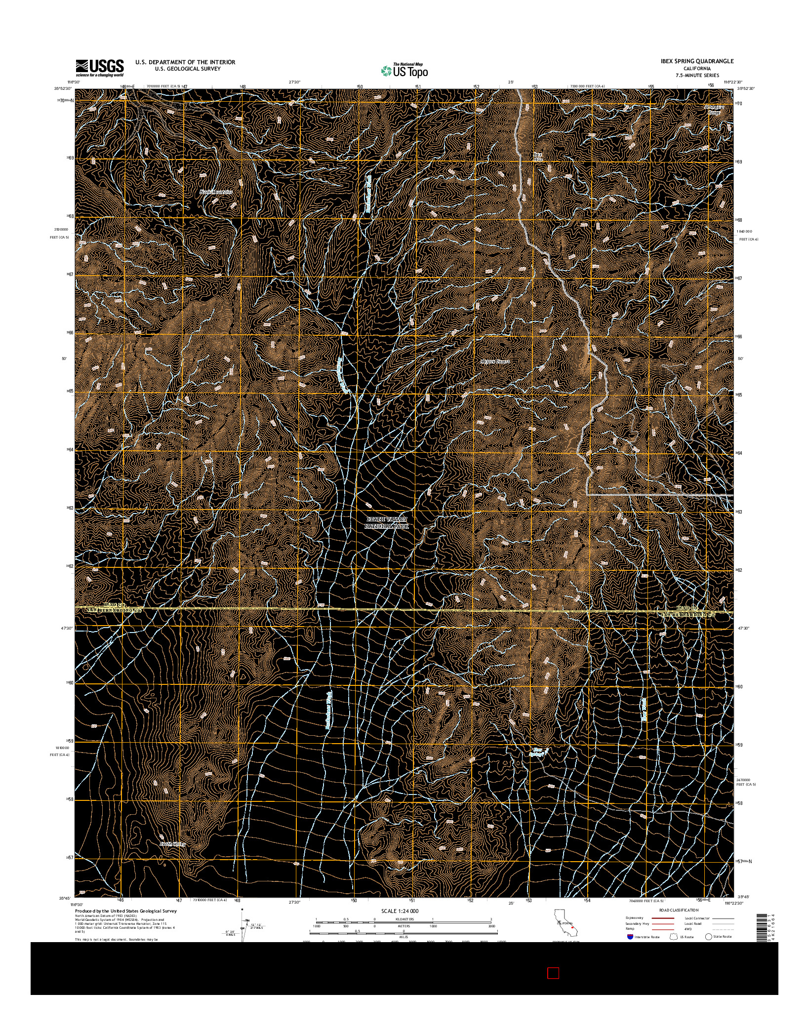 USGS US TOPO 7.5-MINUTE MAP FOR IBEX SPRING, CA 2015